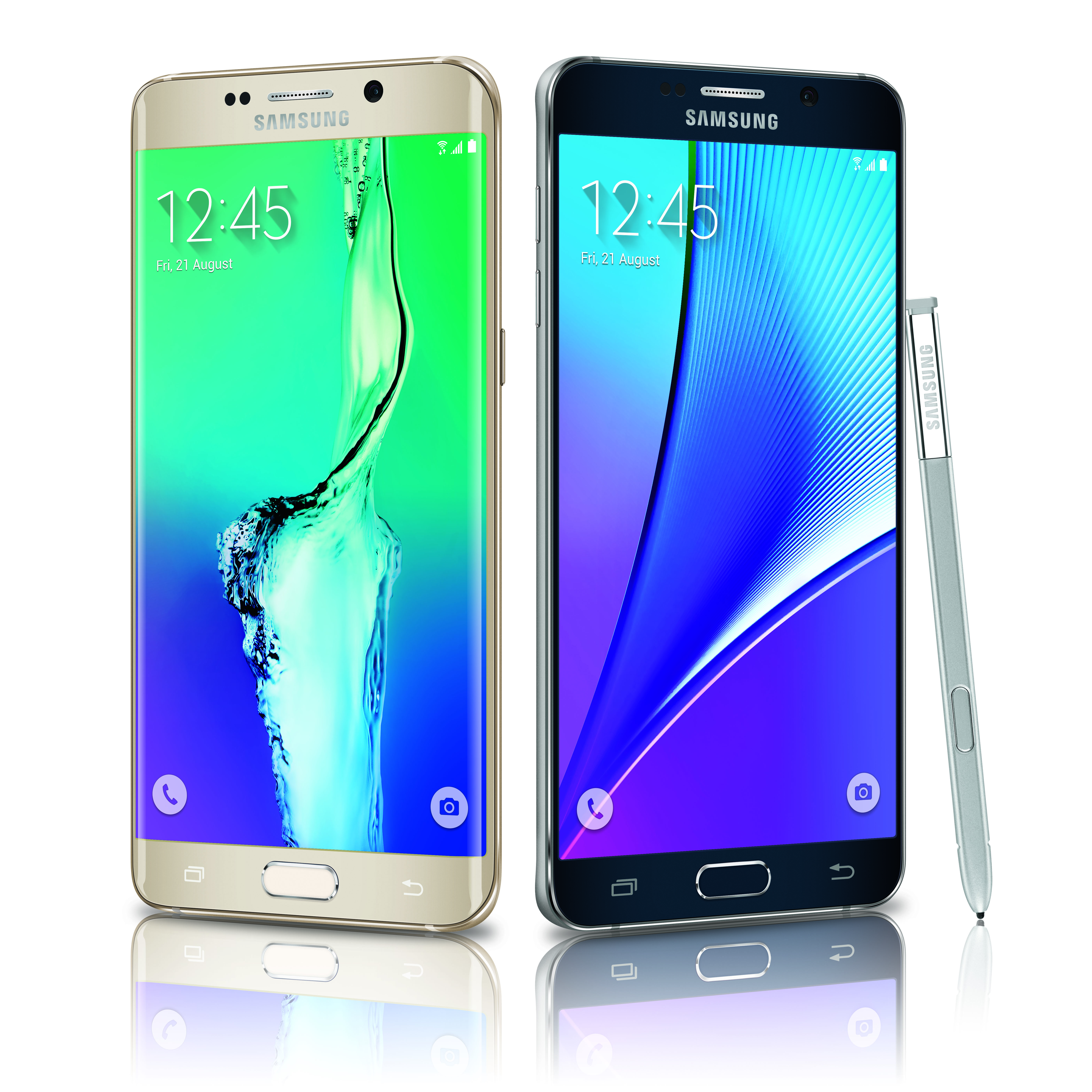 The Samsung Galaxy S6 edge+ (left), and the Note5 (right).