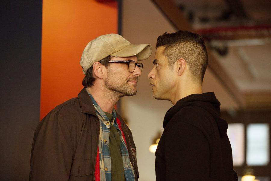 l-r) Christian Slater as Mr. Robot, Rami Malek as Elliot Alderson
