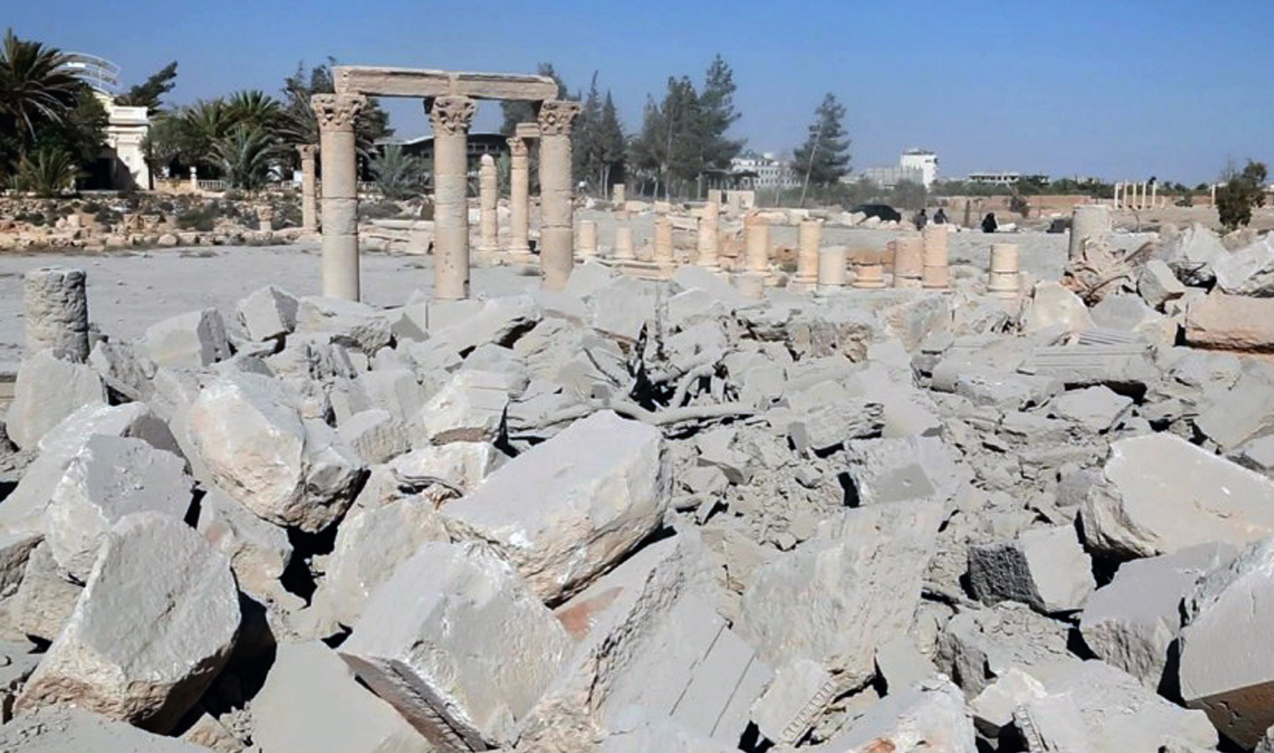 This undated photo released on Aug. 25, 2015 on a social media site used by ISIS militants shows the demolished 2,000-year-old temple of Baalshamin in Palmyra, Syria.