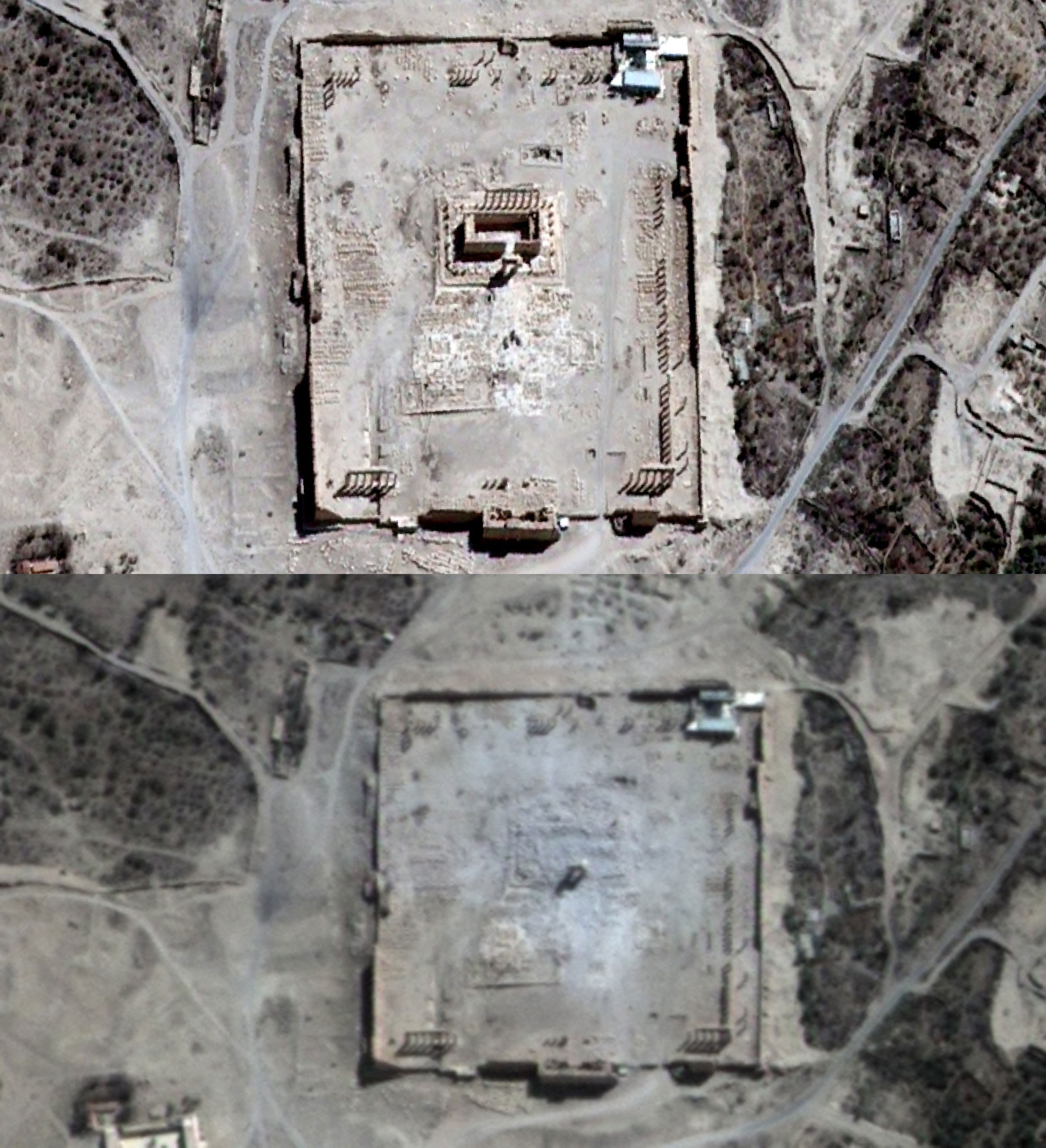 Top: A satellite image of the Temple of Bel seen in Syria's ancient city of Palmyra on Aug. 27, 2015; Bottom: A satellite image showing rubble at the temple's location on Aug. 31, 2015.
