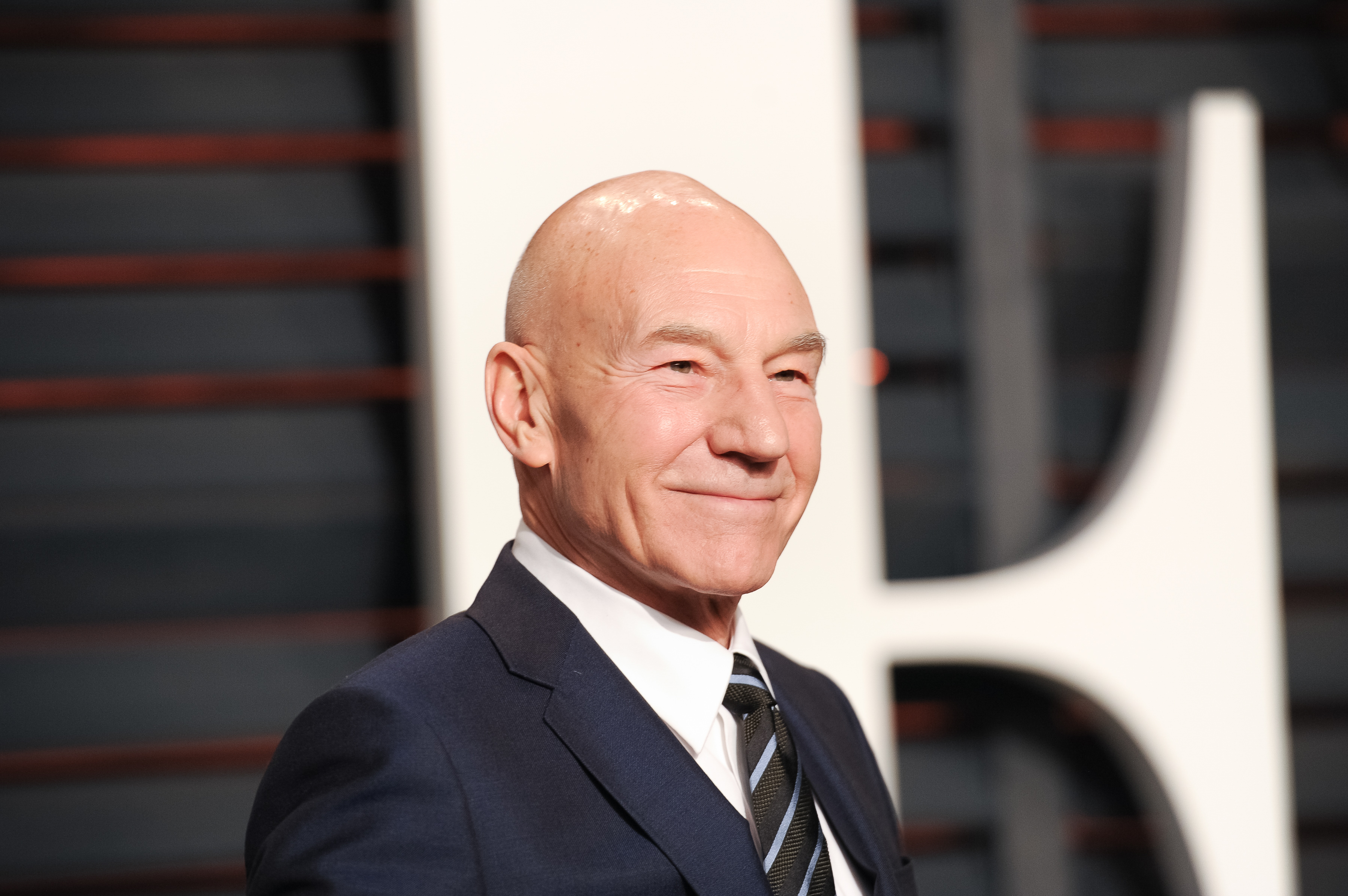 Patrick Stewart at the Vanity Fair Oscar Party in 2015.
