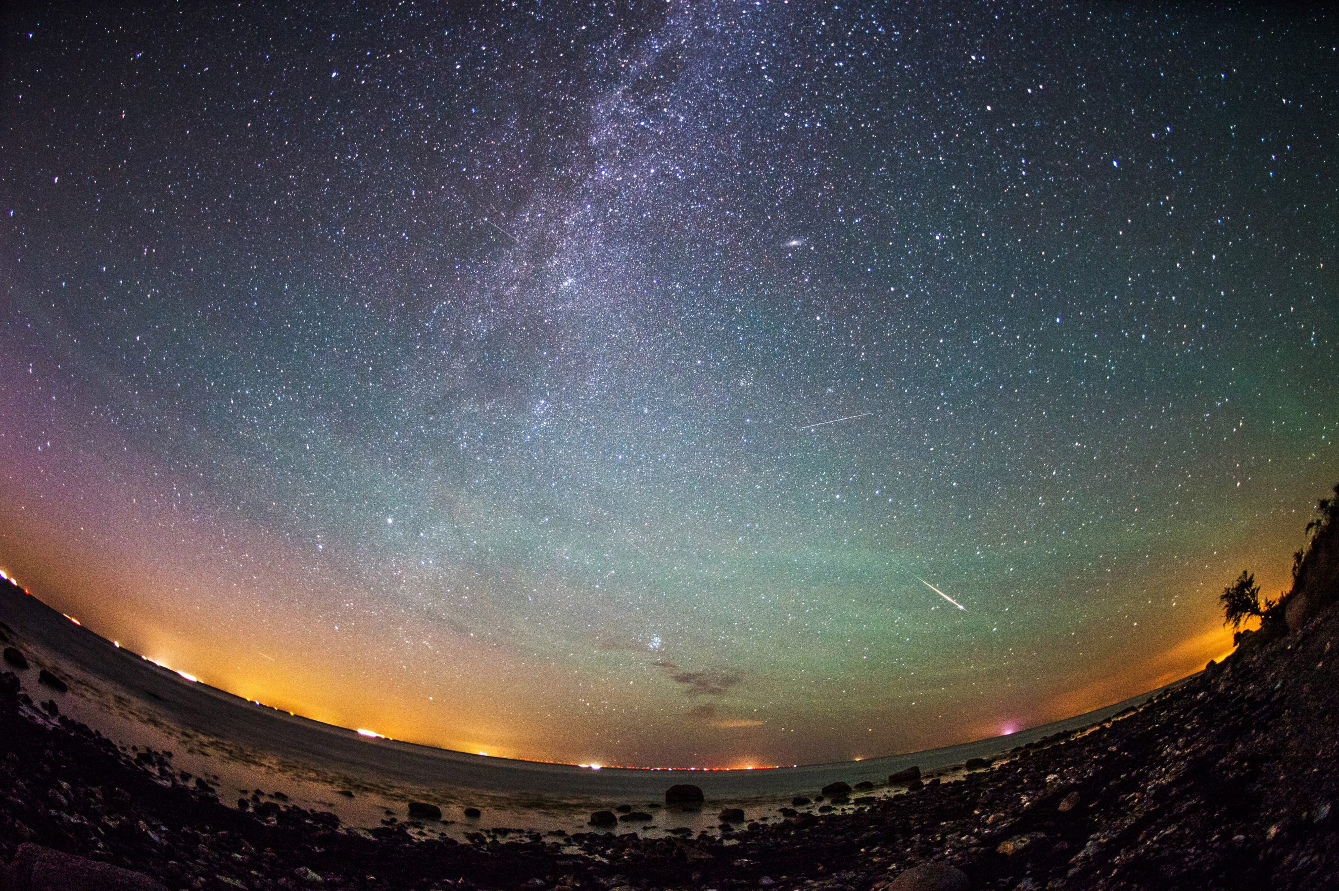The Perseid meteor shower alongside the Milky Way over the German island of Fehmarn on Aug. 13, 2015.