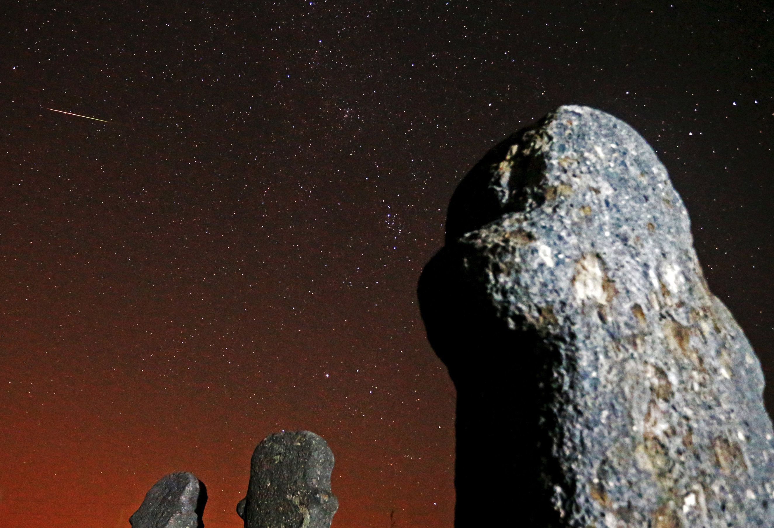 The Perseid meteor shower over the Maculje archaeological site near Novi Travnik in Bosnia on Aug.13, 2015.