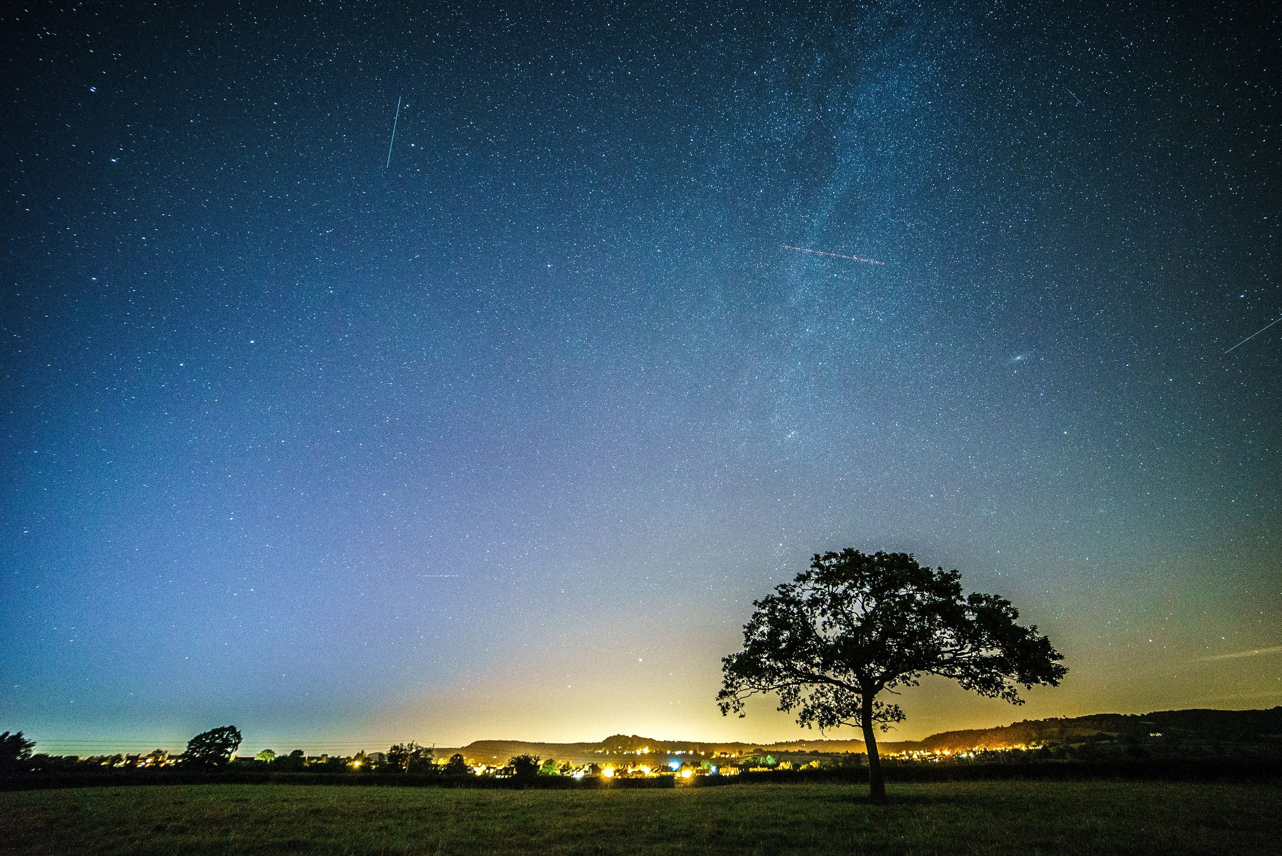 The Perseid meteor shower at Wotton-under-Edge, in Gloucestershire                                   Perseid Meteor Shower, England in August 2015.