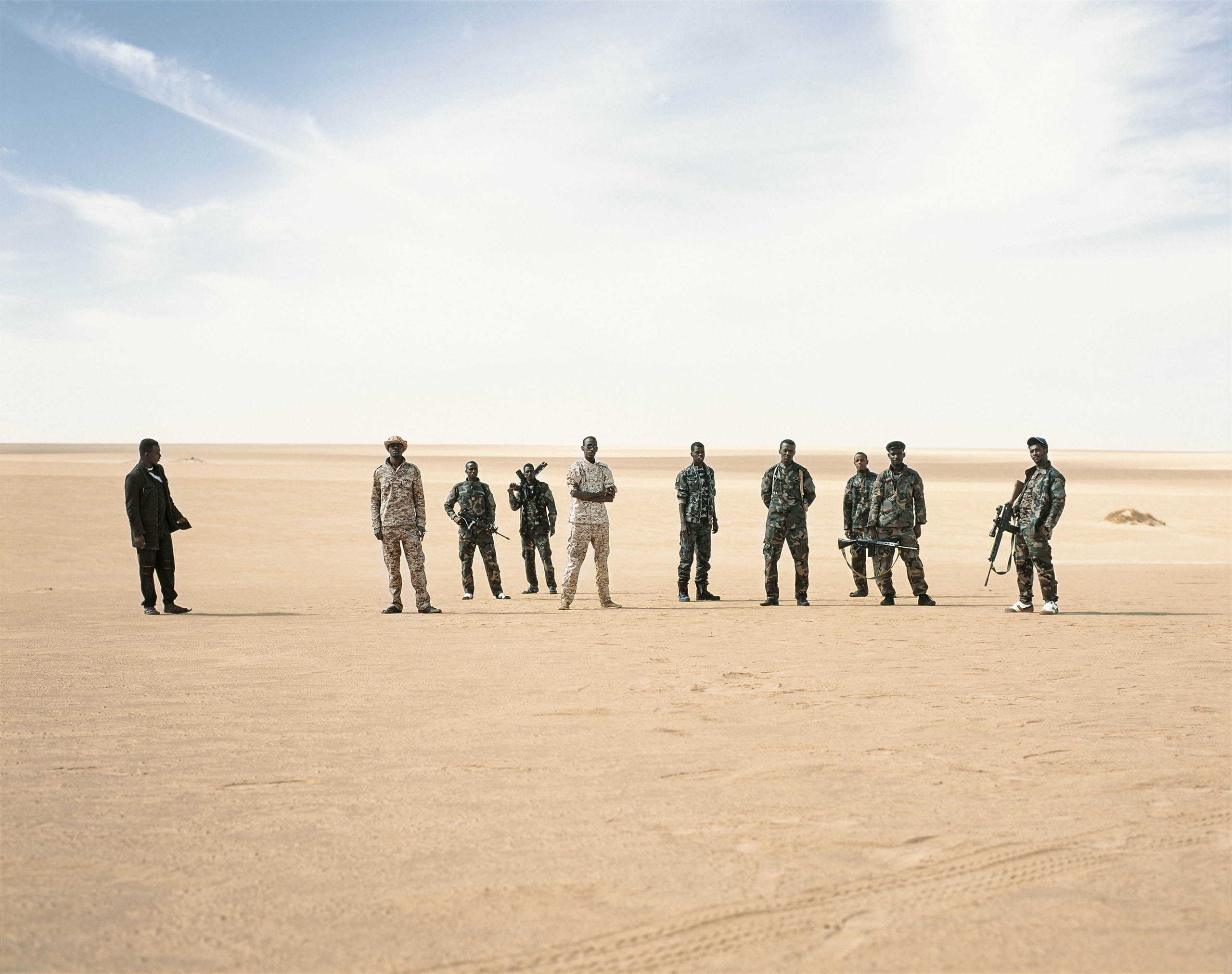 Tebu militiamen, who are backed by the U.N.-recognized Dignity government, outside the tribal capital of Murzuk, in southern Libya, March 2015.