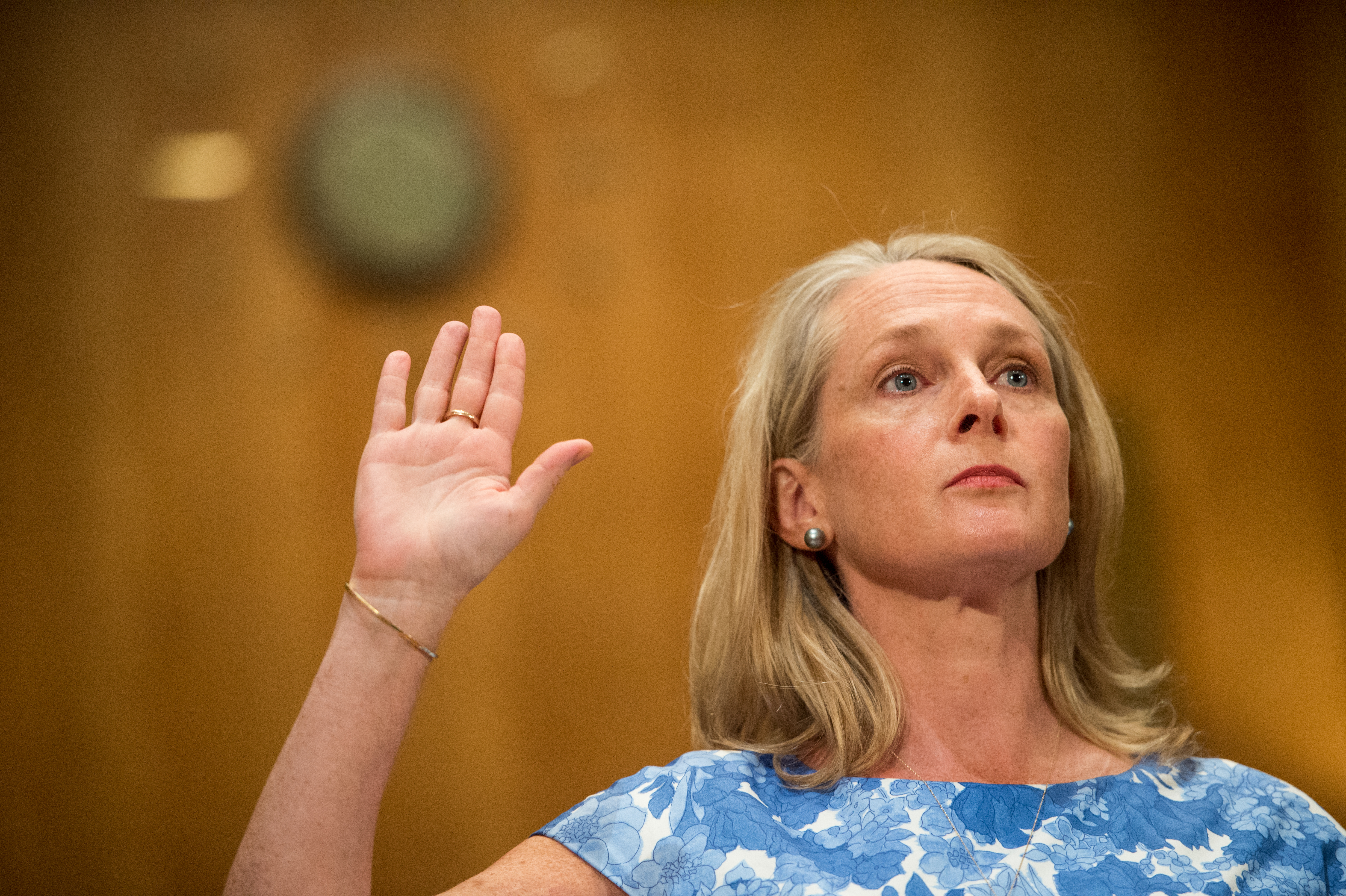 Piper Kerman, author of Orange is the New Black: My Year in a Women's Prison, is sworn in before testifying during the Senate Homeland Security and Governmental Affairs Committee hearing on  Oversight of the Bureau of Prisons: First-Hand Accounts of Challenges Facing the Federal Prison System  on Tuesday, Aug. 4, 2015.