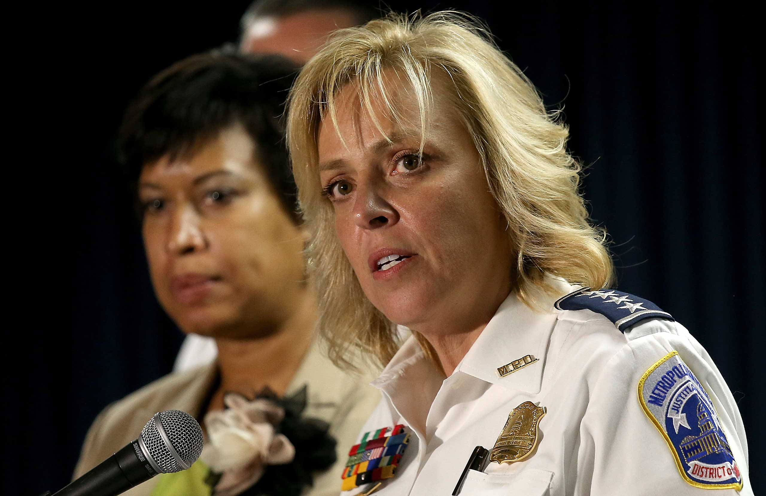 Chief of the Metropolitan Police Department Cathy Lanier speaks at a press conference at police headquarters in Washington, DC., May 21, 2015