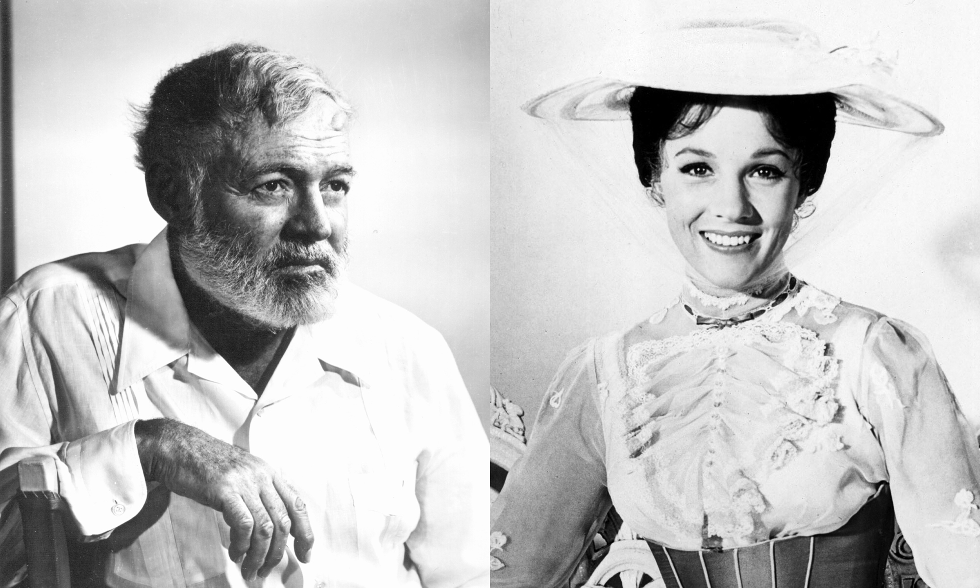 Undated file photo of writer, journalist and American war correspondent, Ernest Hemingway.                     Julie Andrews as Mary Poppins in the 1964 film.