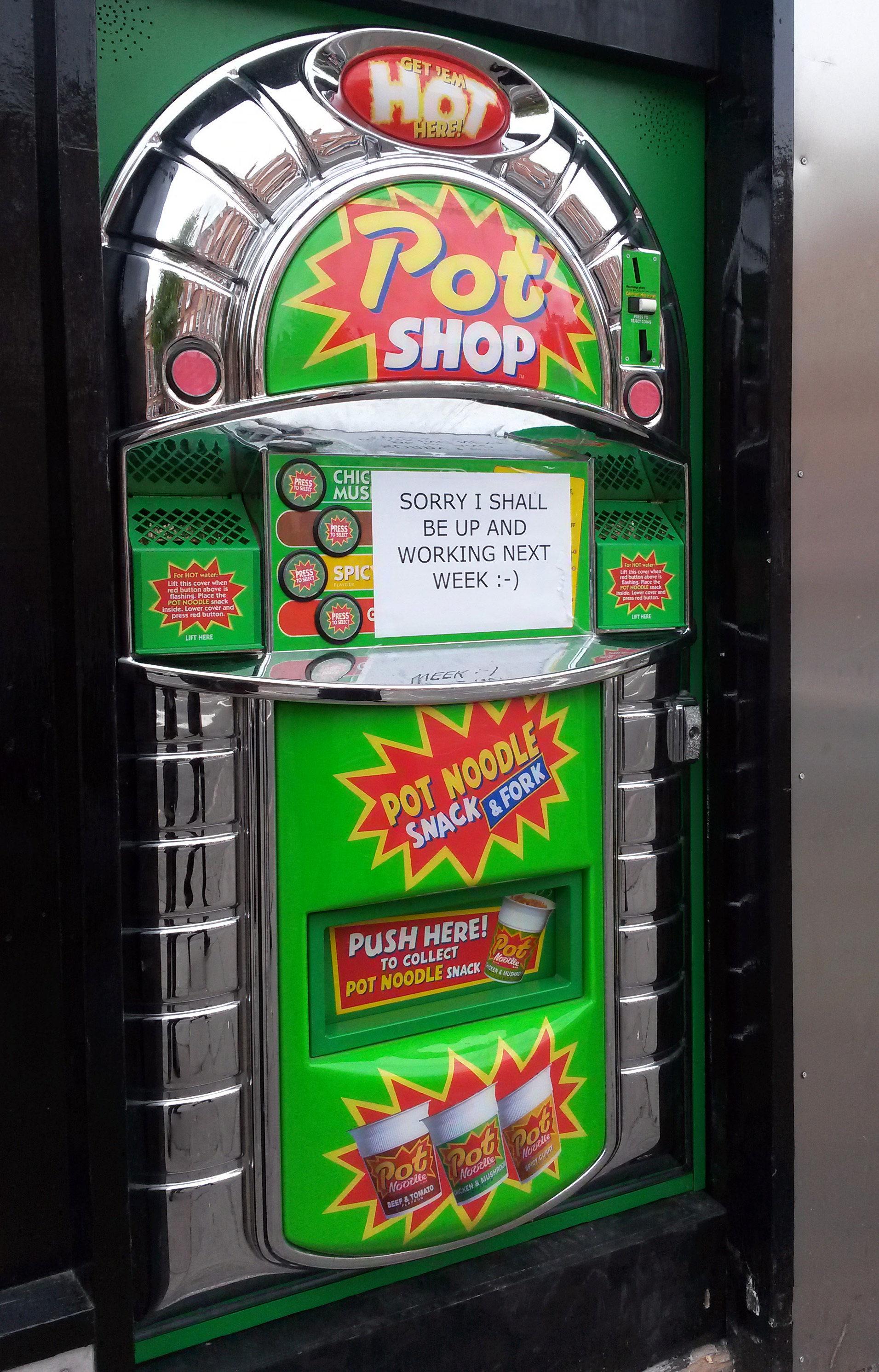 Pot Noodle vending machine. A Pot Noodle vending machine, which has been installed on Mansfield Road in Nottingham on Aug. 3, 2015.