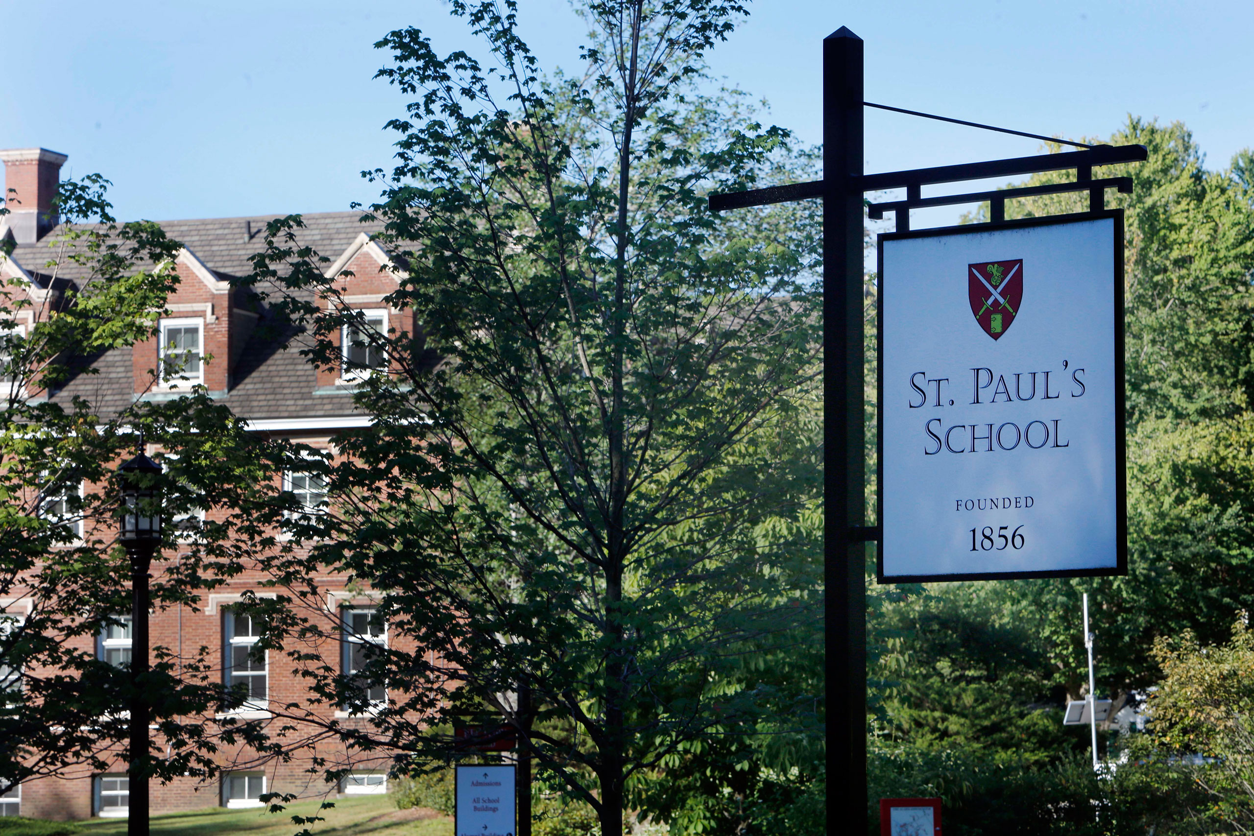 The entrance to the elite St. Paul's School in Concord, N.H., is seen on Aug. 14, 2015.