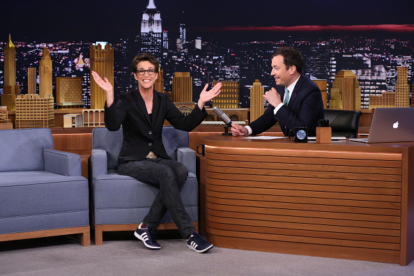 Rachel Maddow with host Jimmy Fallon on  The Tonight Show Starring Jimmy Fallon  on Aug. 20, 2015.