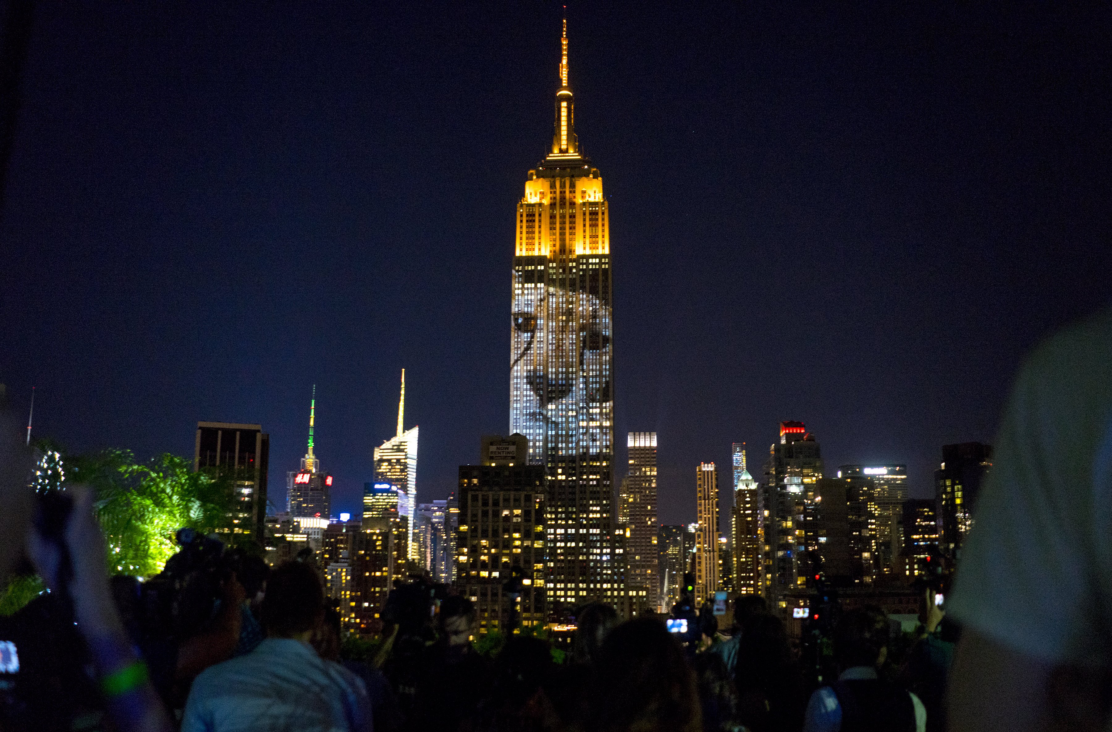 Large images of endangered species are projected on the south facade of The Empire State Building on Aug. 1, 2015, in New York City.