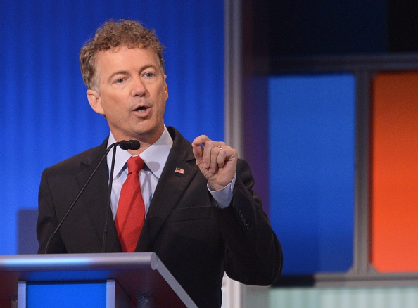 Kentucky Senator Rand Paul speaks during the Republican presidential primary debate on August 6, 2015 at the Quicken Loans Arena in Cleveland, Ohio.