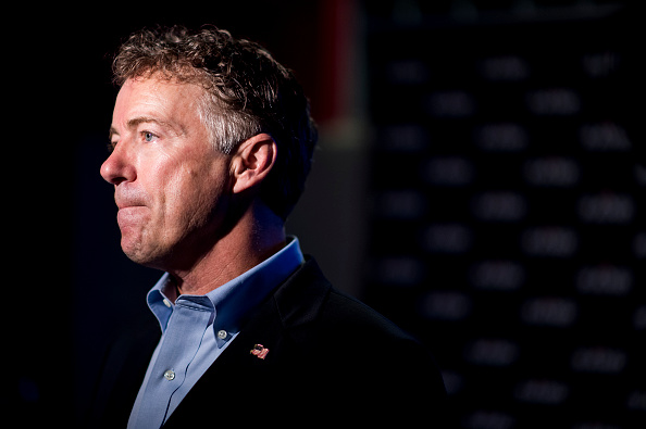 Presidential candidate Sen. Rand Paul, R-Ky., speaks with the media at the Pints for Liberty event at Rat River Brewery in Columbia, S.C., on Friday, Aug. 7, 2015.