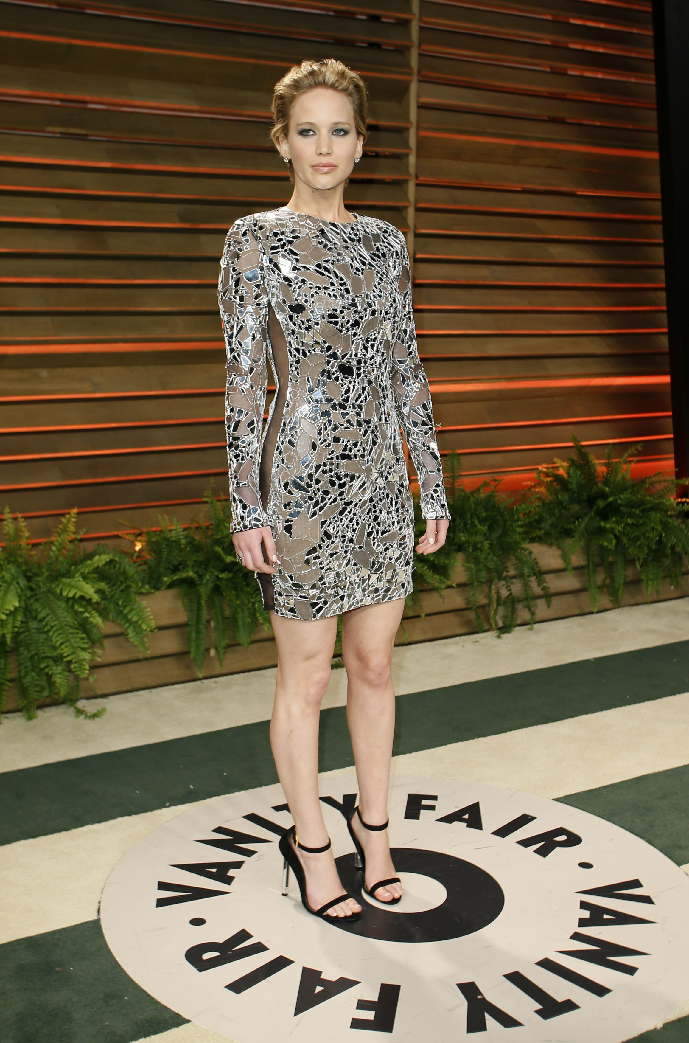 Jennifer Lawrence arrives at the 2014 Vanity Fair Oscars Party in Los Angeles on March 2, 2014.