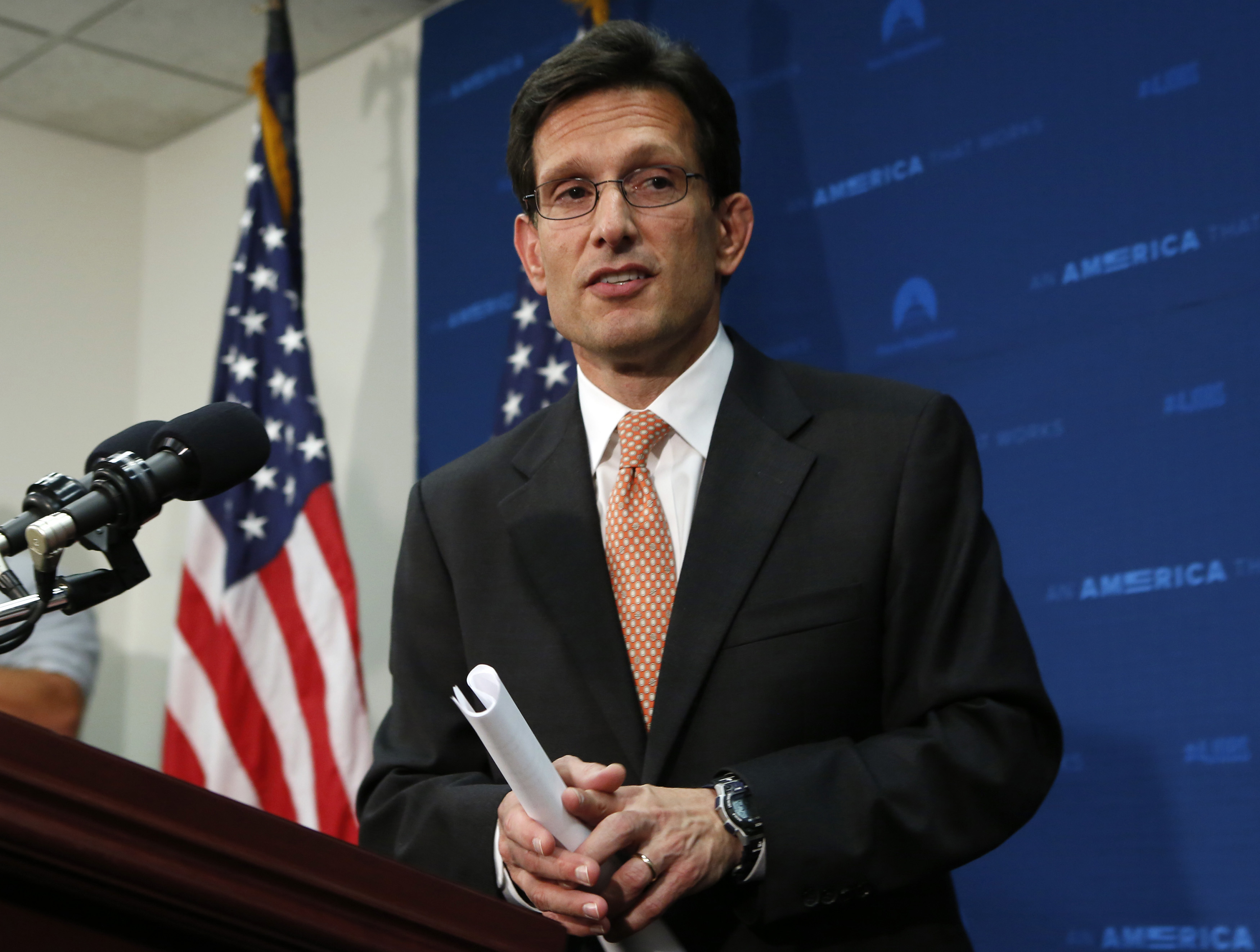 U.S. House Majority Leader Eric Cantor (R-VA) leaves after a news conference at the U.S. Capitol in Washington June 11, 2014