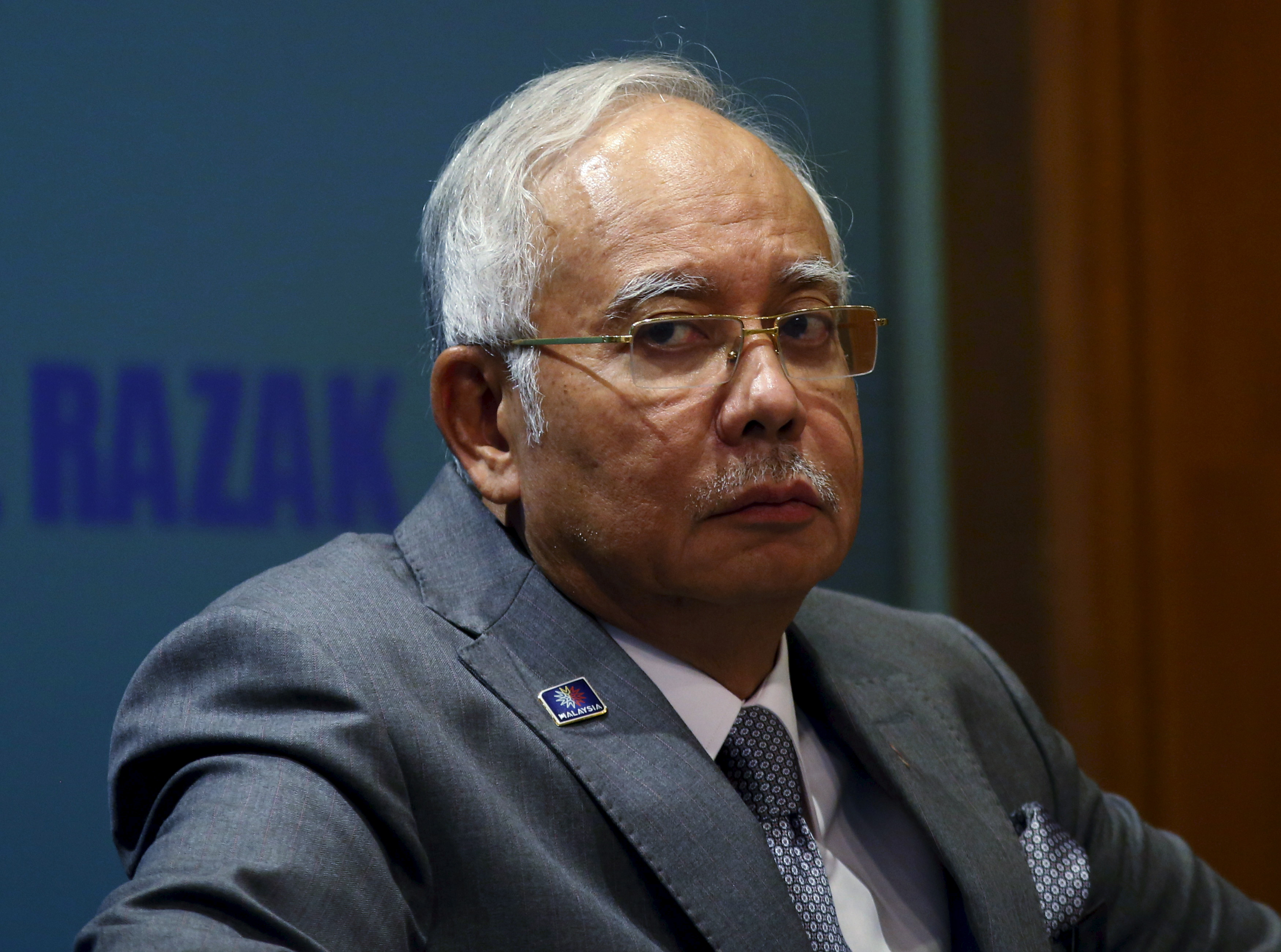 Malaysia's Prime Minister Najib Razak attends a presentation for government interns at the Prime Minister's Office in Putrajaya, Malaysia, on July 8, 2015