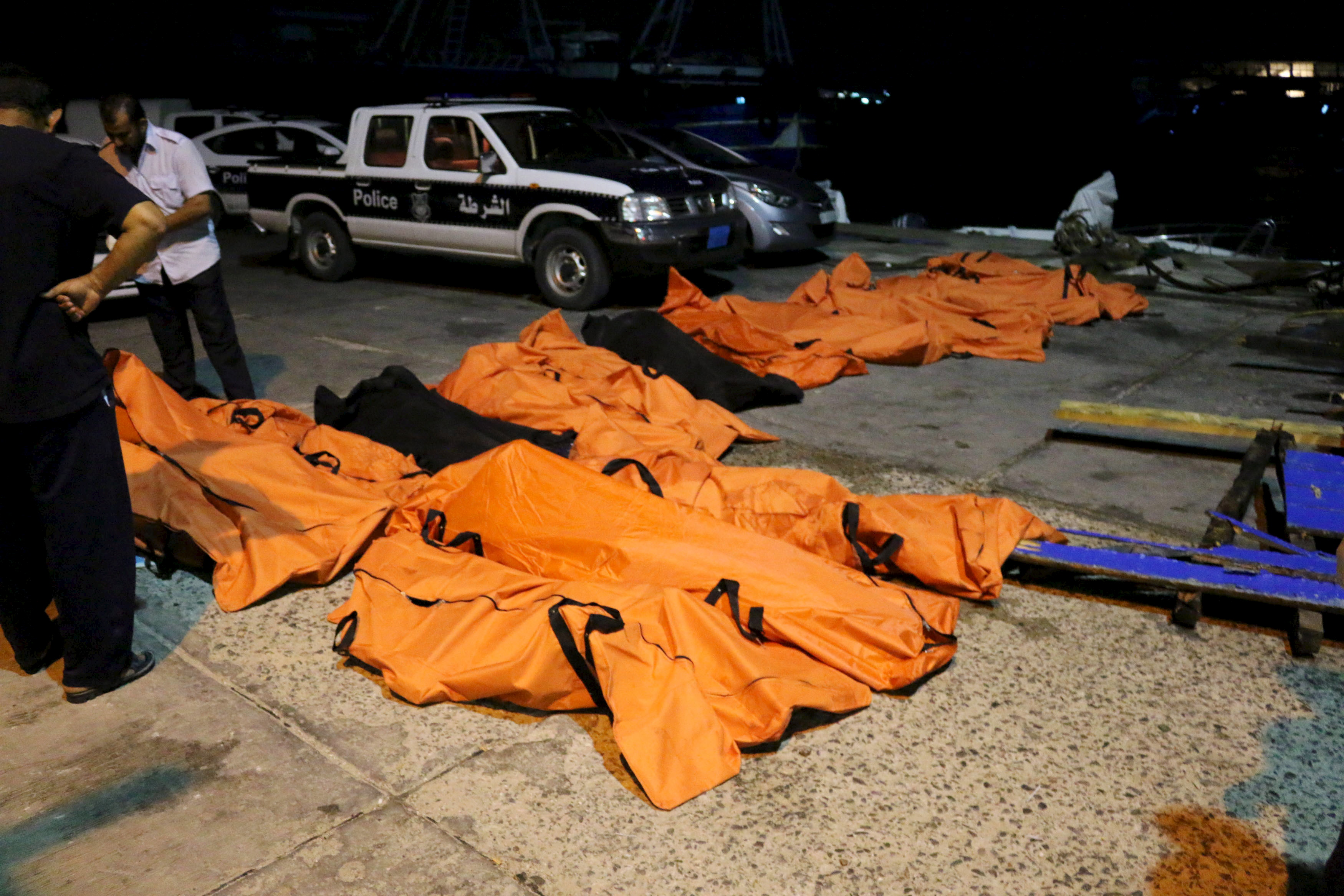 A view of the bodies of dead migrants that were recovered by the Libyan coast guard after a boat sank off the coastal Libyan town of Zuwara, west of Tripoli, on Aug. 27, 2015