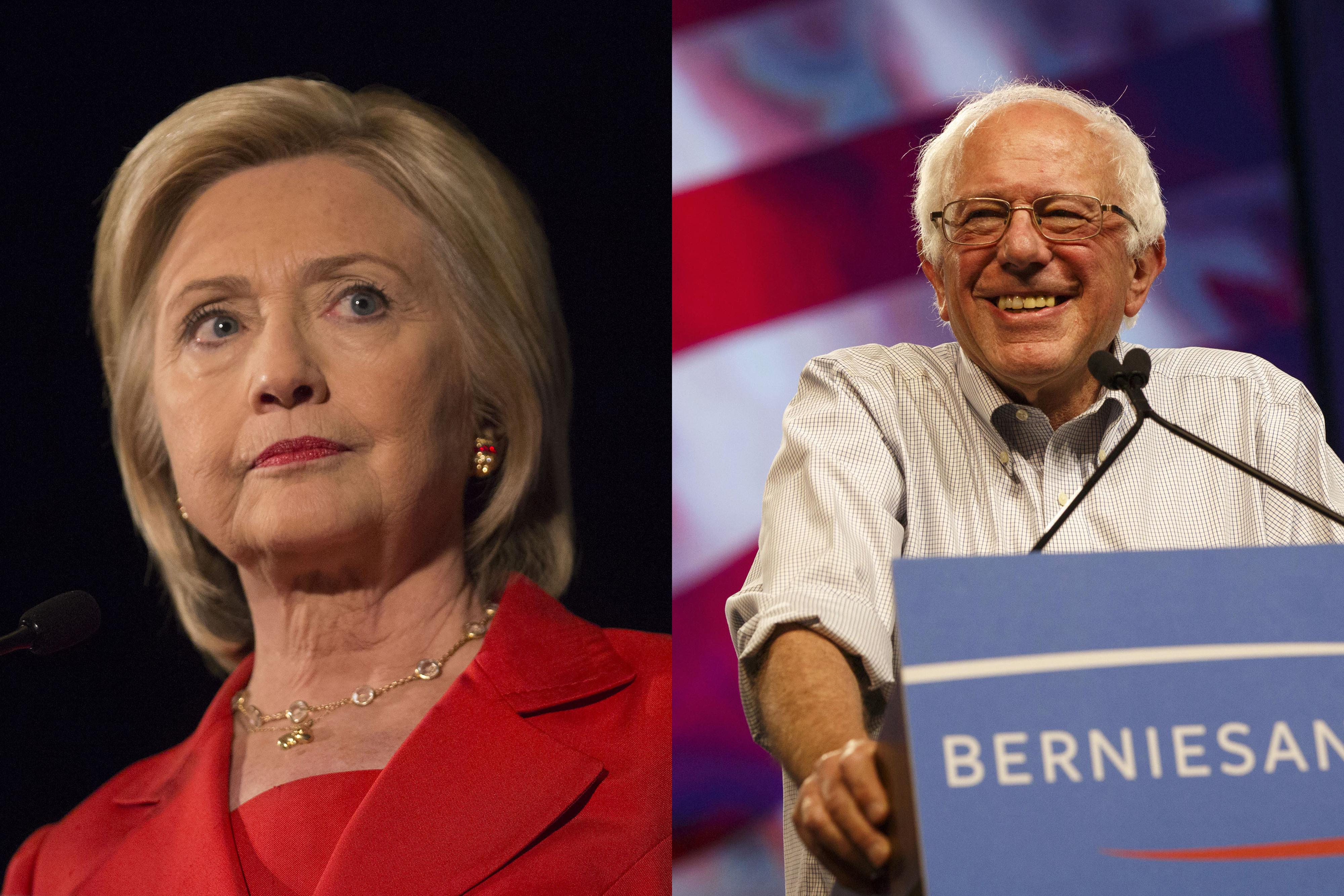 Left: Democratic presidential candidate Hillary Clinton in July 17, 2015; Right: U.S. Senator Bernie Sanders in Aug. 2015.