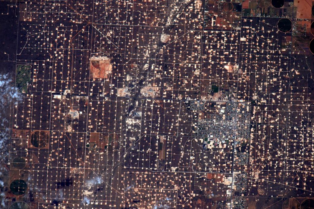 Can't see Great Wall of China with the naked eye from space but sure can see this West Texas oil field. #YearInSpace  - via Twitter on Aug. 23, 2015