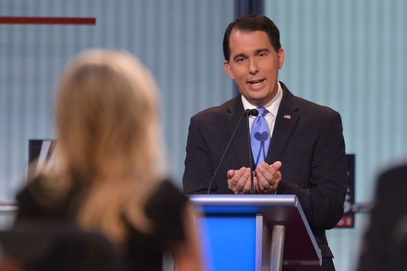 Wisconsin Gov. Scott Walker participates in the Republican presidential primary debate on August 6, 2015 at the Quicken Loans Arena in Cleveland, Ohio.