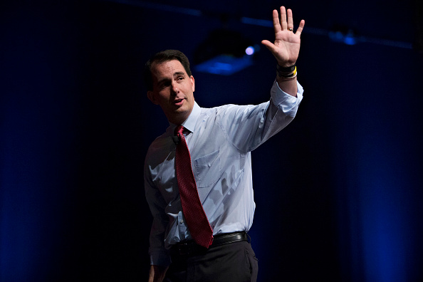 Scott Walker, governor of Wisconsin and Republican U.S. 2016 presidential candidate, waves after speaking during The Family Leadership Summit in Ames, Iowa, U.S., on Saturday, July 18, 2015.