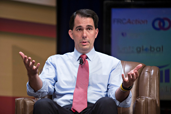 Scott Walker, governor of Wisconsin and Republican U.S. 2016 presidential candidate, speaks during The Family Leadership Summit in Ames, Iowa, U.S., on Saturday, July 18, 2015.