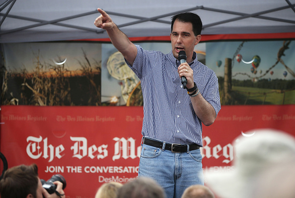 Republican presidential candidate and Wisconsin Gov. Scott Walker speaks to fairgoers during the Iowa State Fair on August 17, 2015 in Des Moines, Iowa.