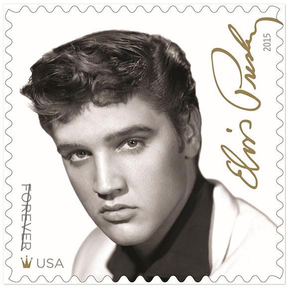 The Elvis Presley stamp designed by Antonio Alcala, Leslie Badani and William Speer.