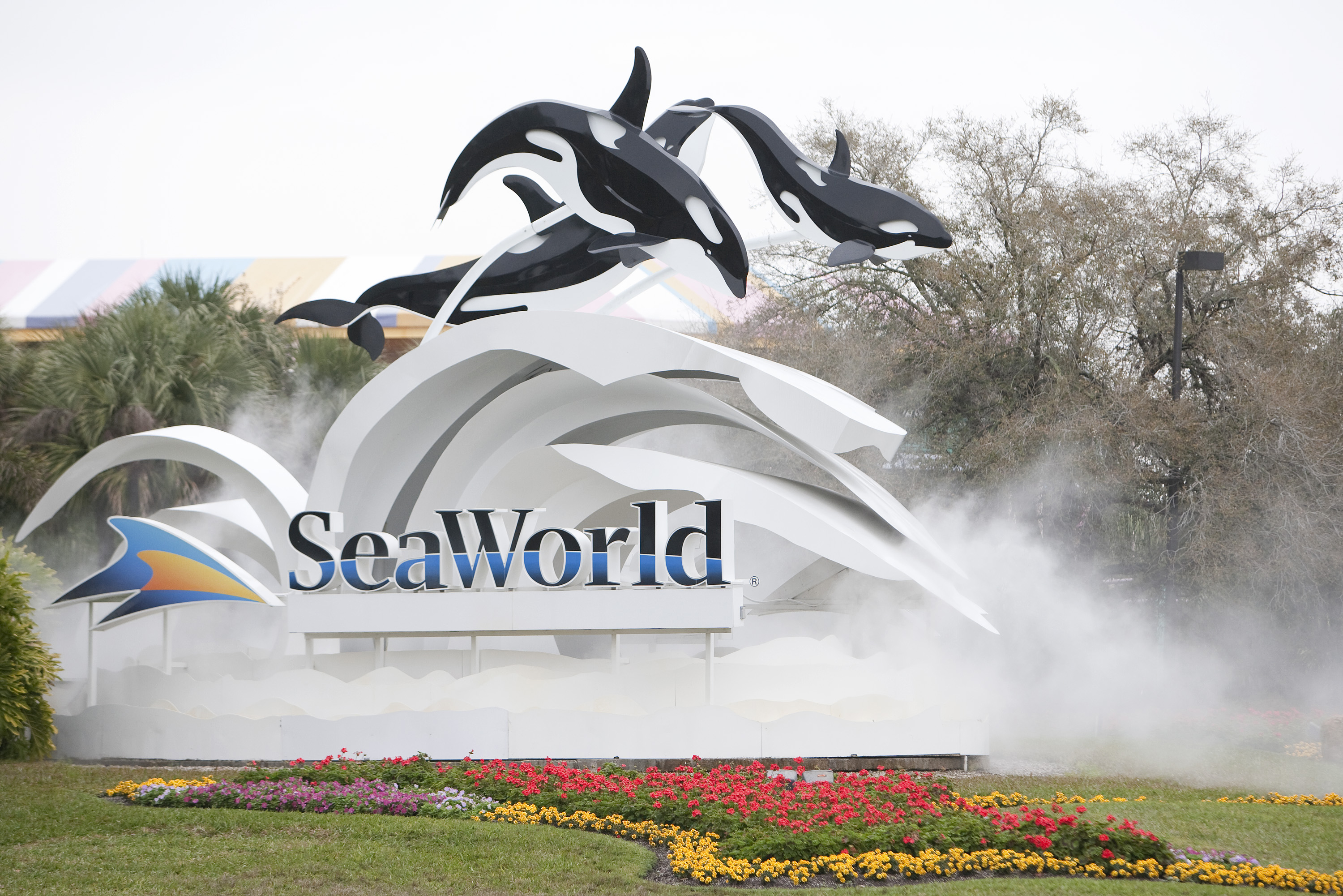 The sign at the entrance to SeaWorld on Feb. 24, 2010 in Orlando, Fla.