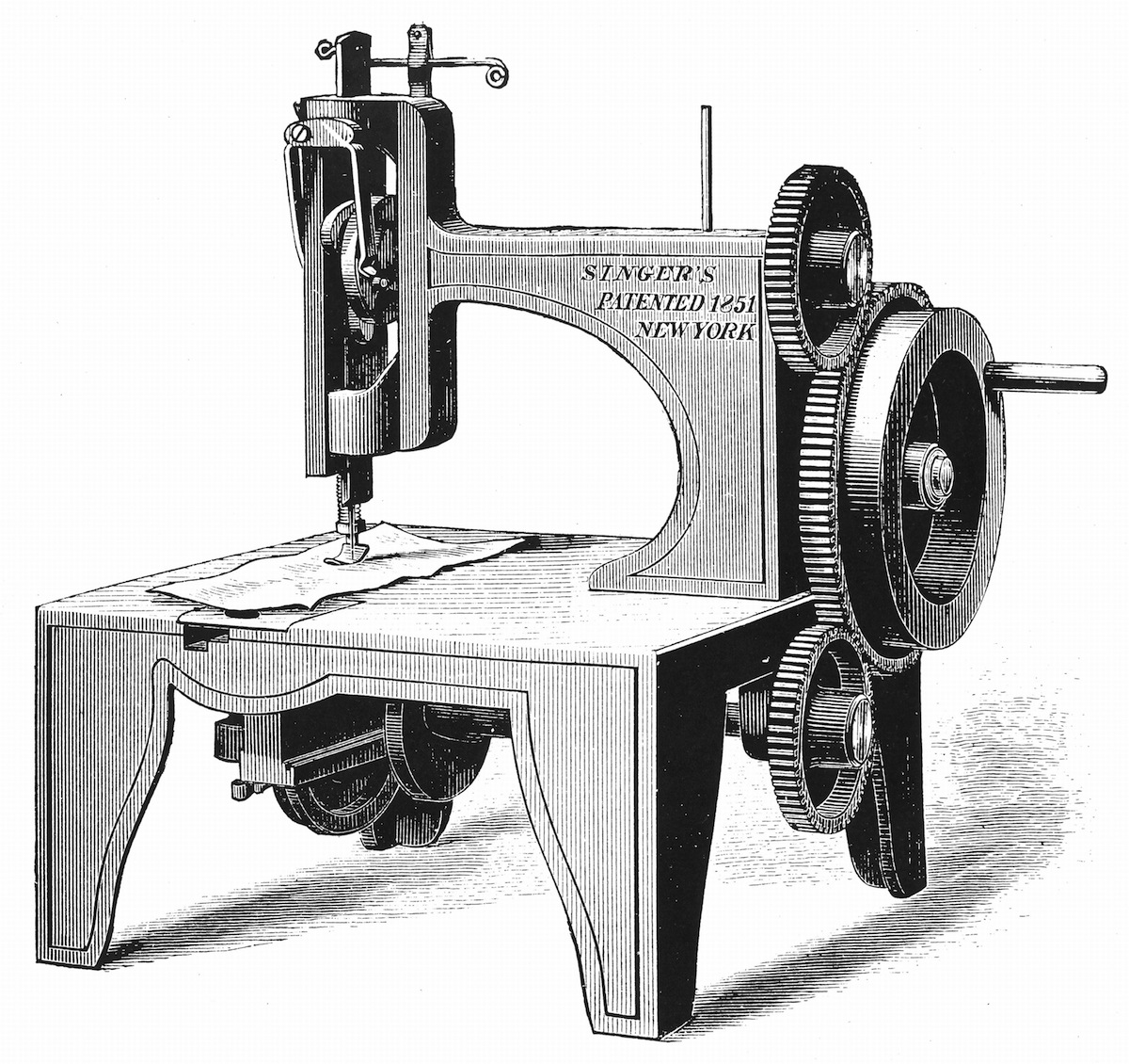 Wood engraving image of Isaac Merrit Singer's  first sewing machine, patented 1851.
