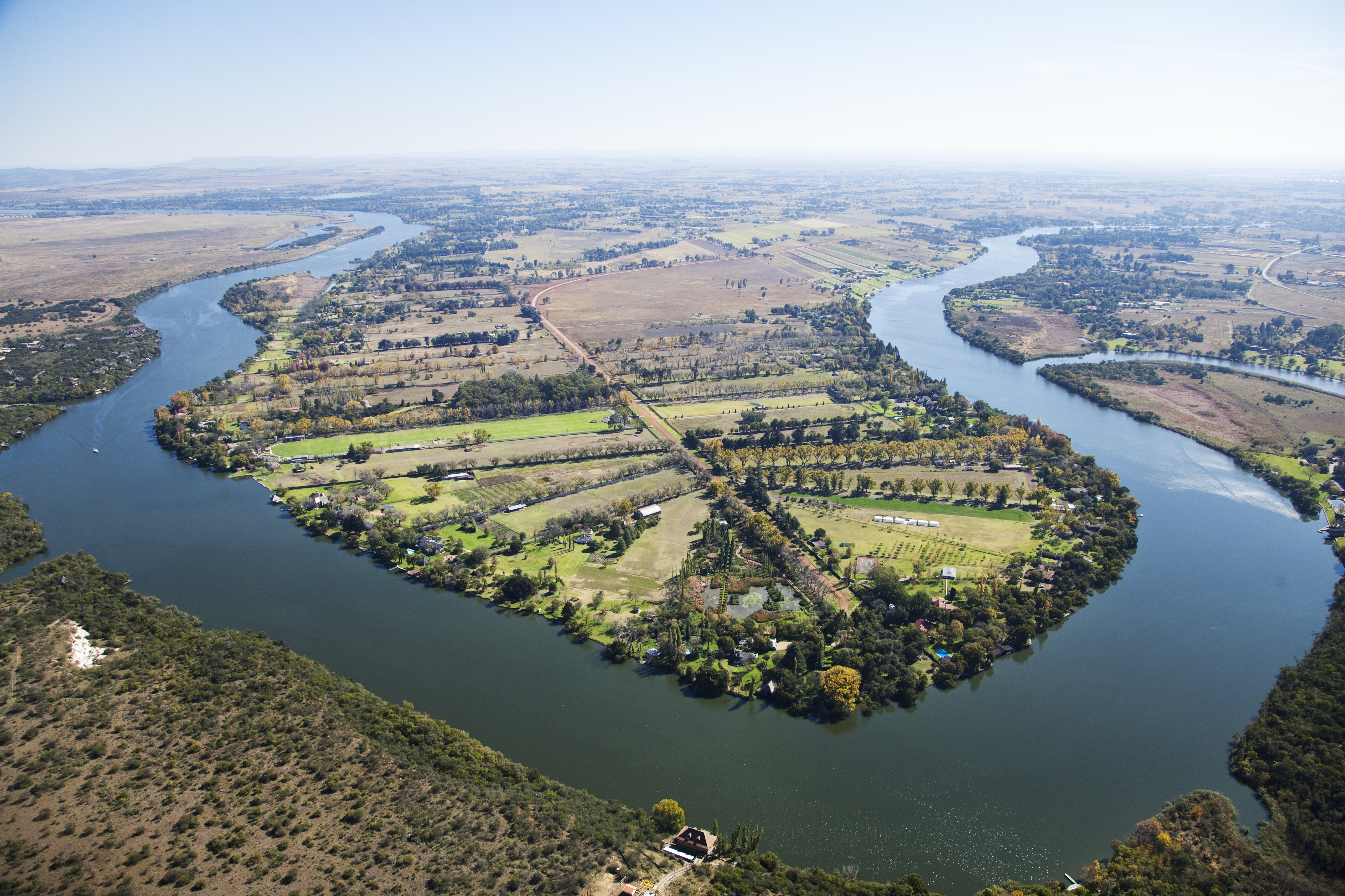 Vaal River, Aerial view, Gauteng Province, Free State Province, South Africa