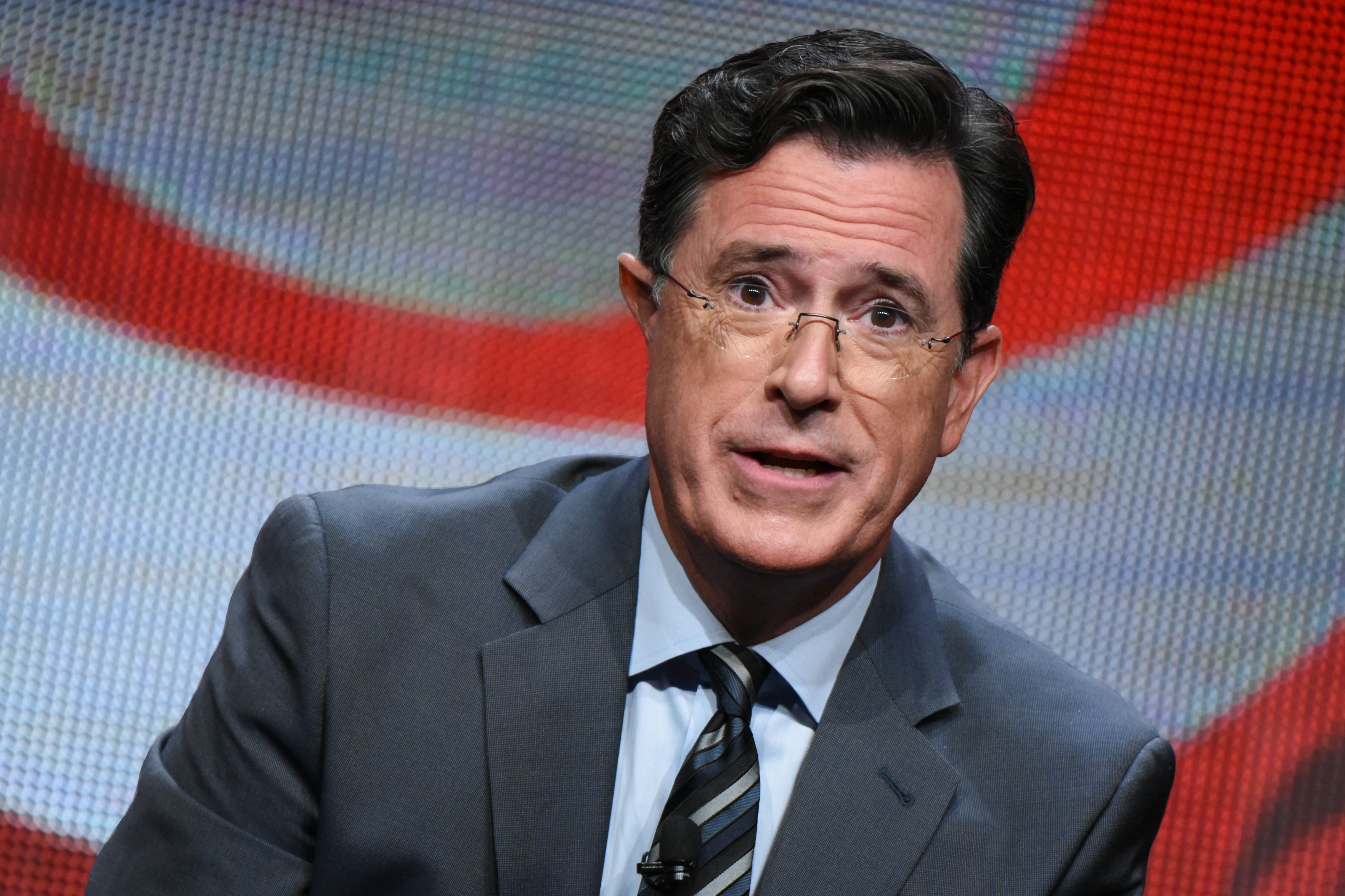 Stephen Colbert participates in  The Late Show with Stephen Colbert  segment of the CBS Summer TCA Tour at the Beverly Hilton Hotel in Beverly Hills, Calif., on Aug. 10, 2015.