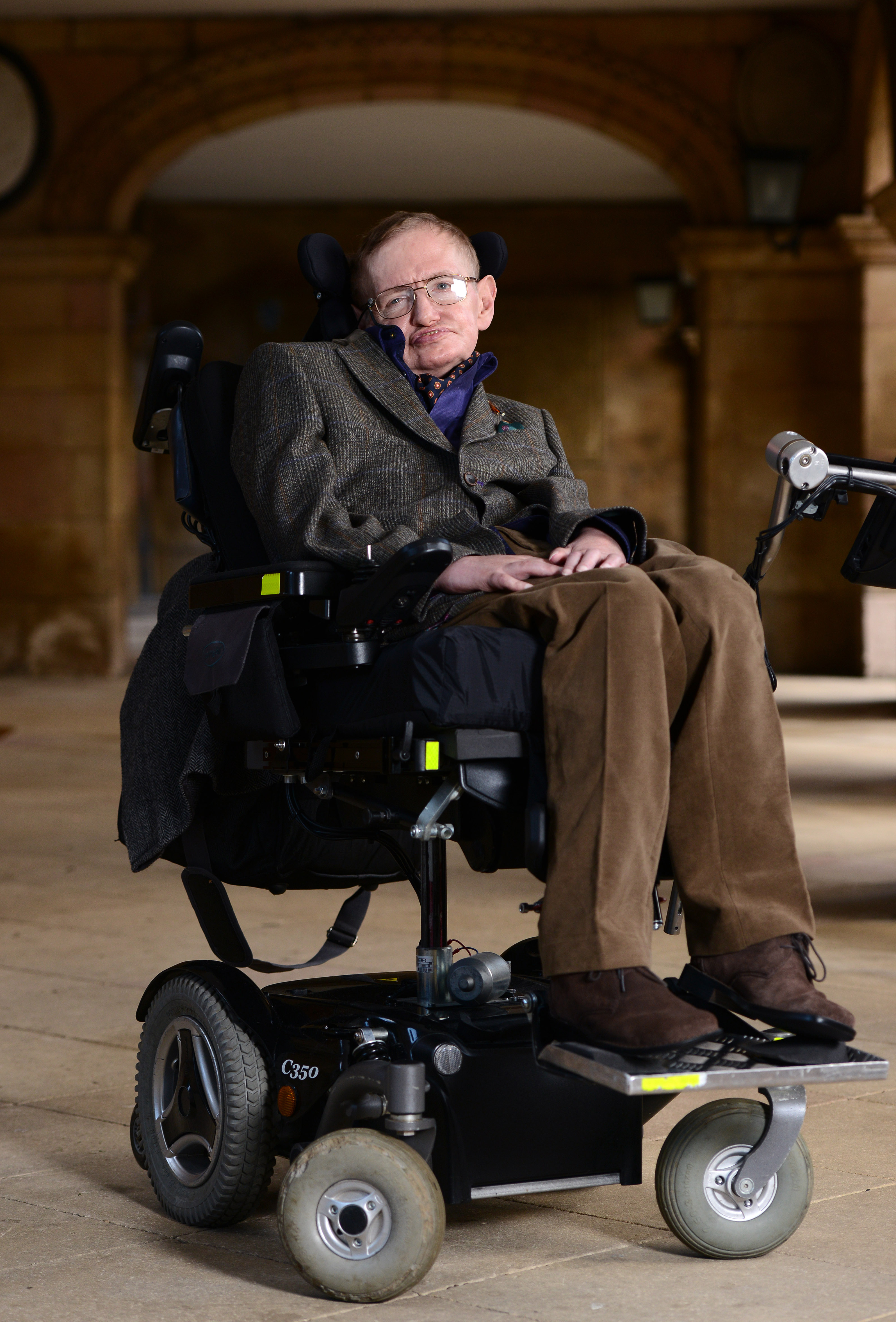 Professor Stephen Hawking attends the gala screening of  Hawking  on the opening night of the Cambridge Film Festival held at Emmanuel College on September 19, 2013 in Cambridge, Cambridgeshire.