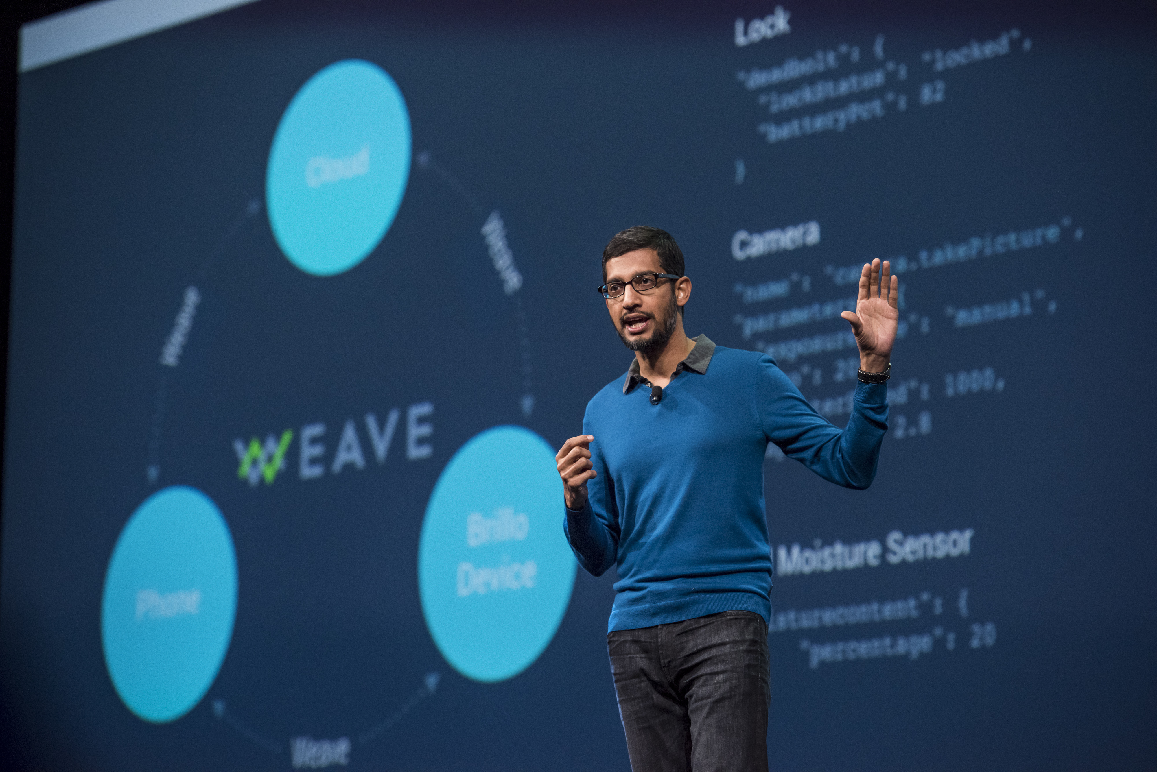Sundar Pichai, senior vice-president of Products for Google Inc., speaks during the Google I/O Annual Developers Conference in San Francisco on May 28, 2015.