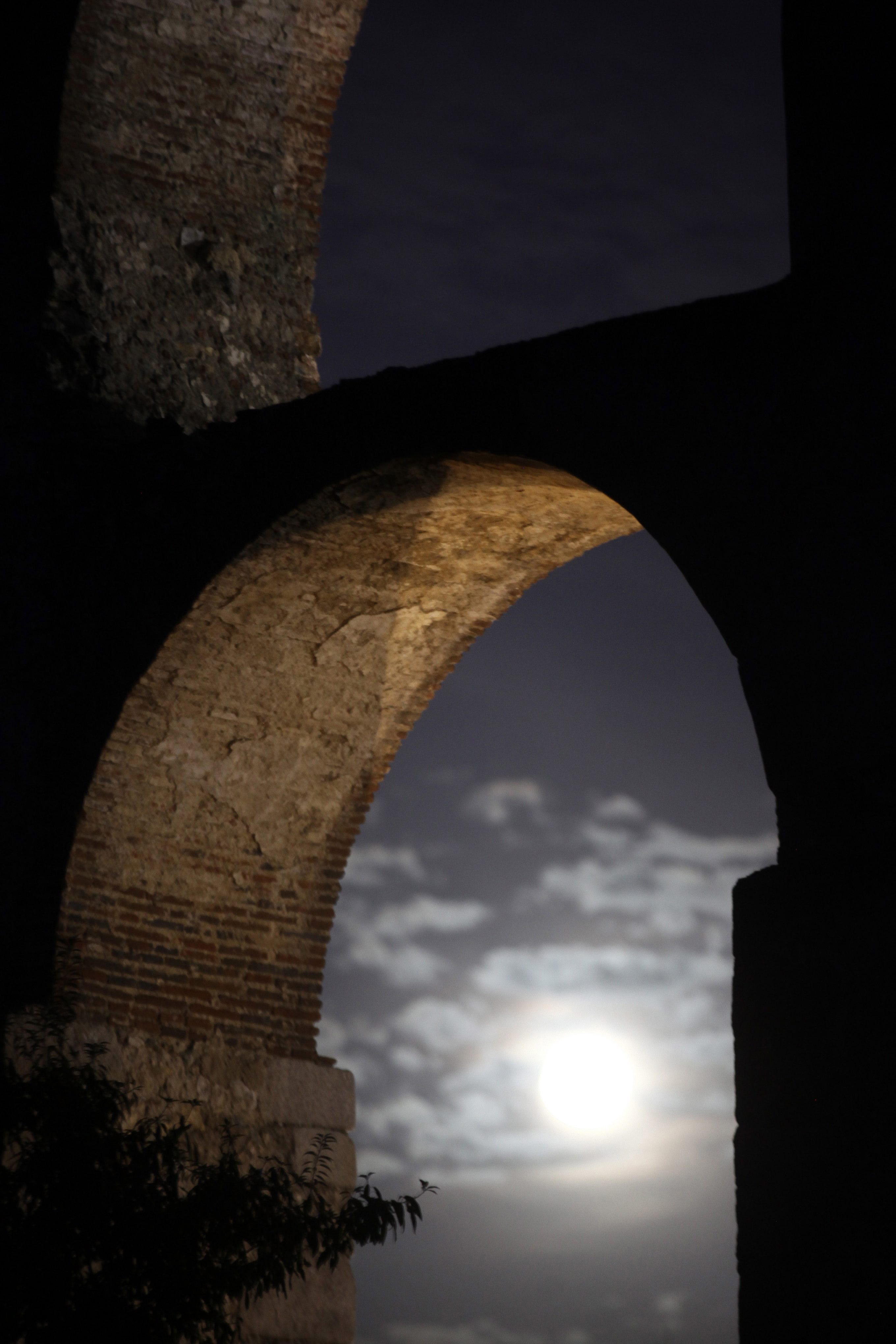 The super moon seen from Elvas, Portugal on Aug. 29, 2015.