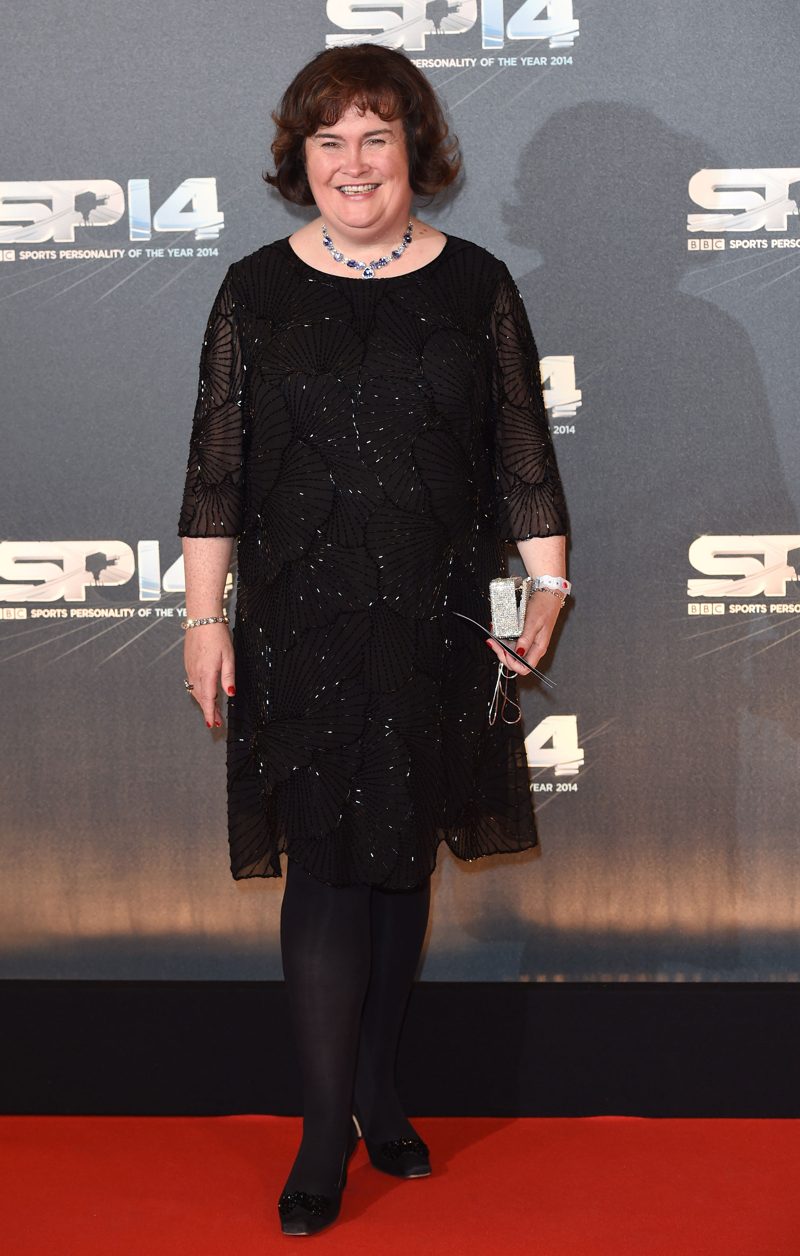 Susan Boyle attends the BBC Sports Personality of the Year awards at The Hydro  in Glasgow, Scotland, on December 14, 2014.