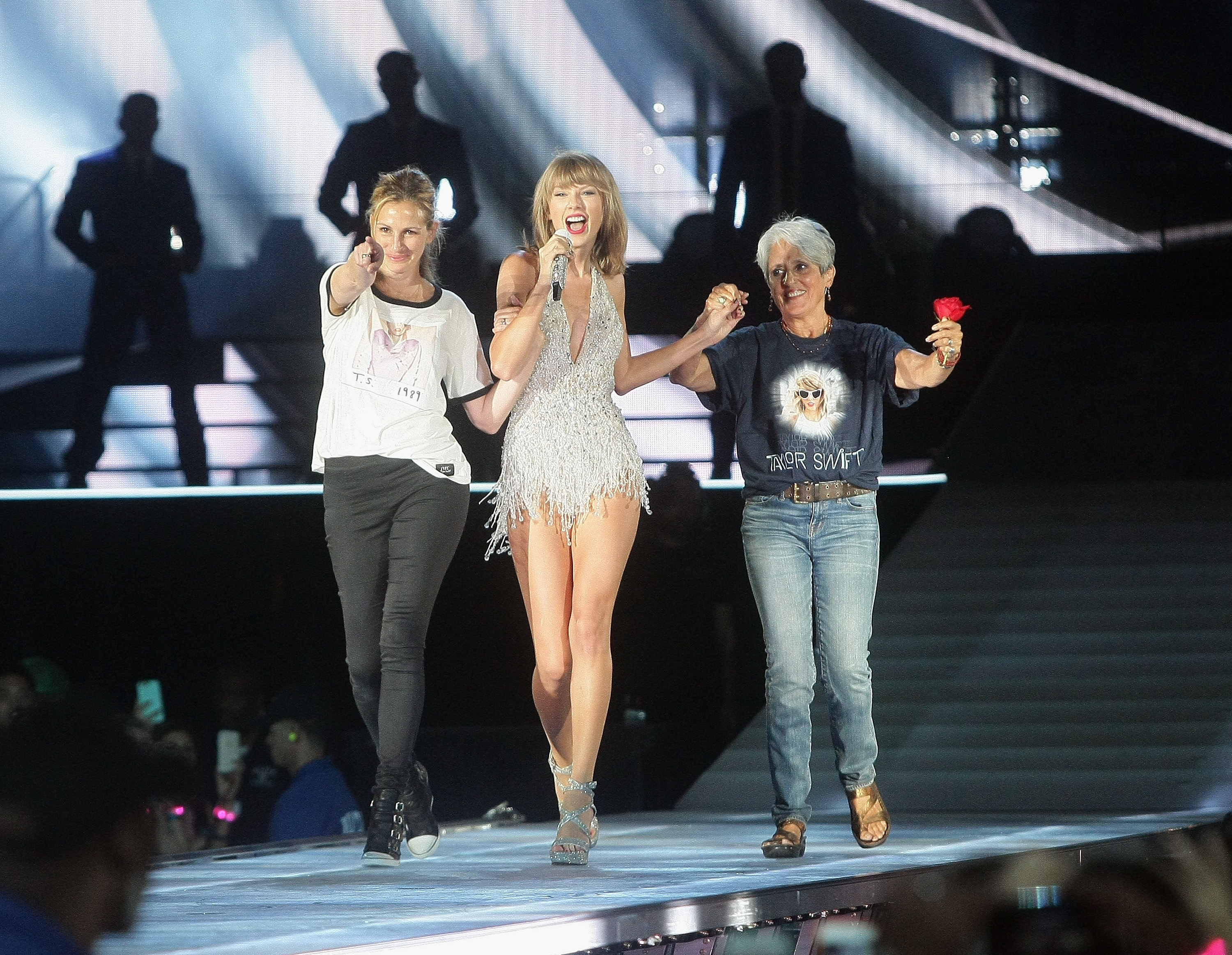 Left to right, actress Julia Roberts, Taylor Swift and musician Joan Baez appear together during Swift's  The 1989 World Tour  at Levi's Stadium in Santa Clara, Calif.,  on Aug. 15, 2015.