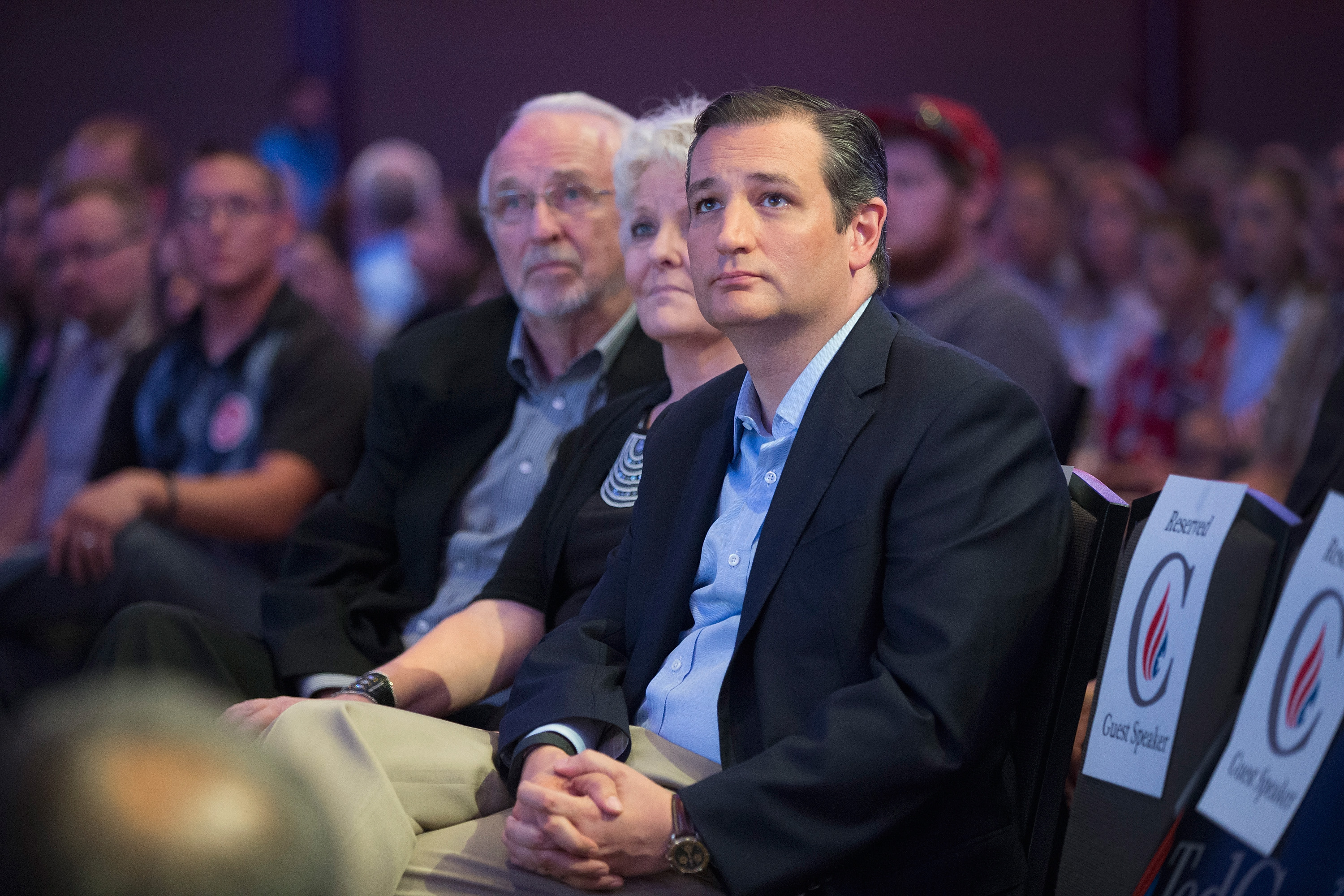 Republican presidential candidate Sen. Ted Cruz waits to be introduced at his Religious Liberty Rally  in Des Moines, Iowa, on Aug. 21, 2015.