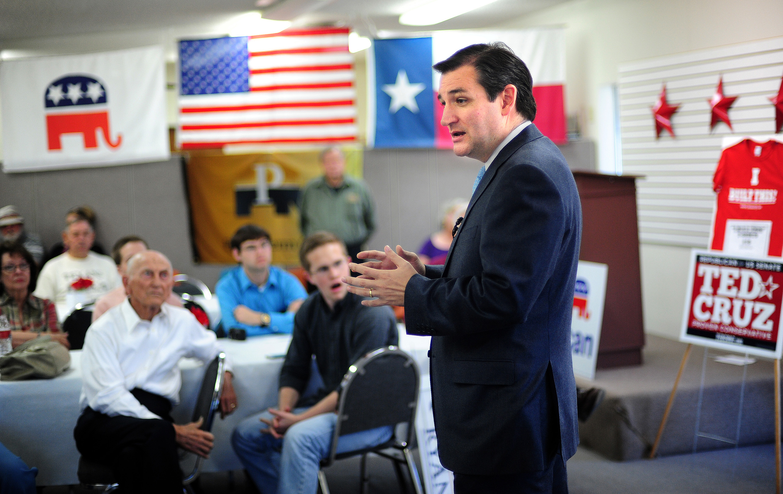 Republican Senate nominee Ted Cruz talks to a crowd of local supporters at the Taylor County Republican Headquarters in Abilene, Texas on Oct. 18, 2012.