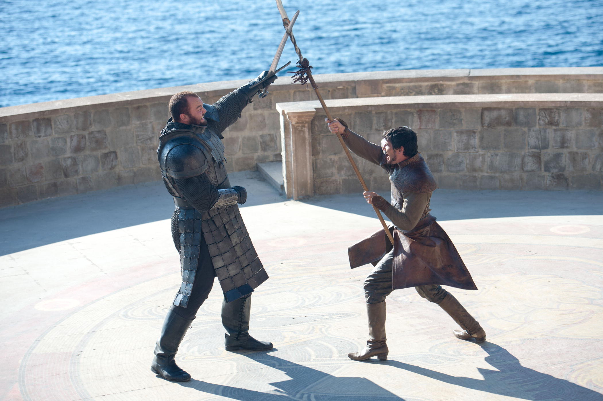Hafþór Júlíus Björnsson and Pedro Pascal fight as The Mountain and Oberyn in Season 4 Episode 8 of Game of Thrones.