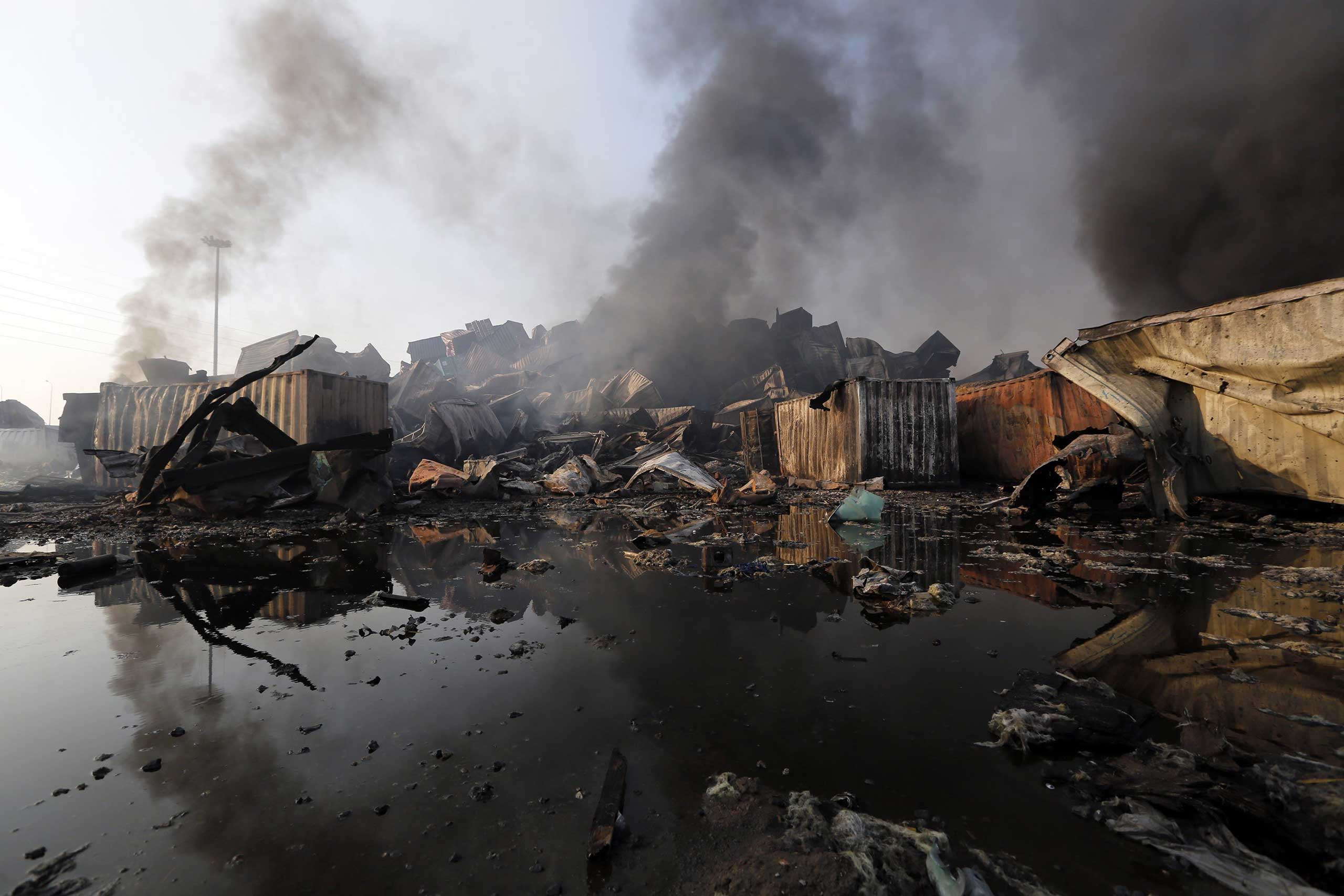 Debris at the explosion site in Tianjin, north China, on Aug.13, 2015.