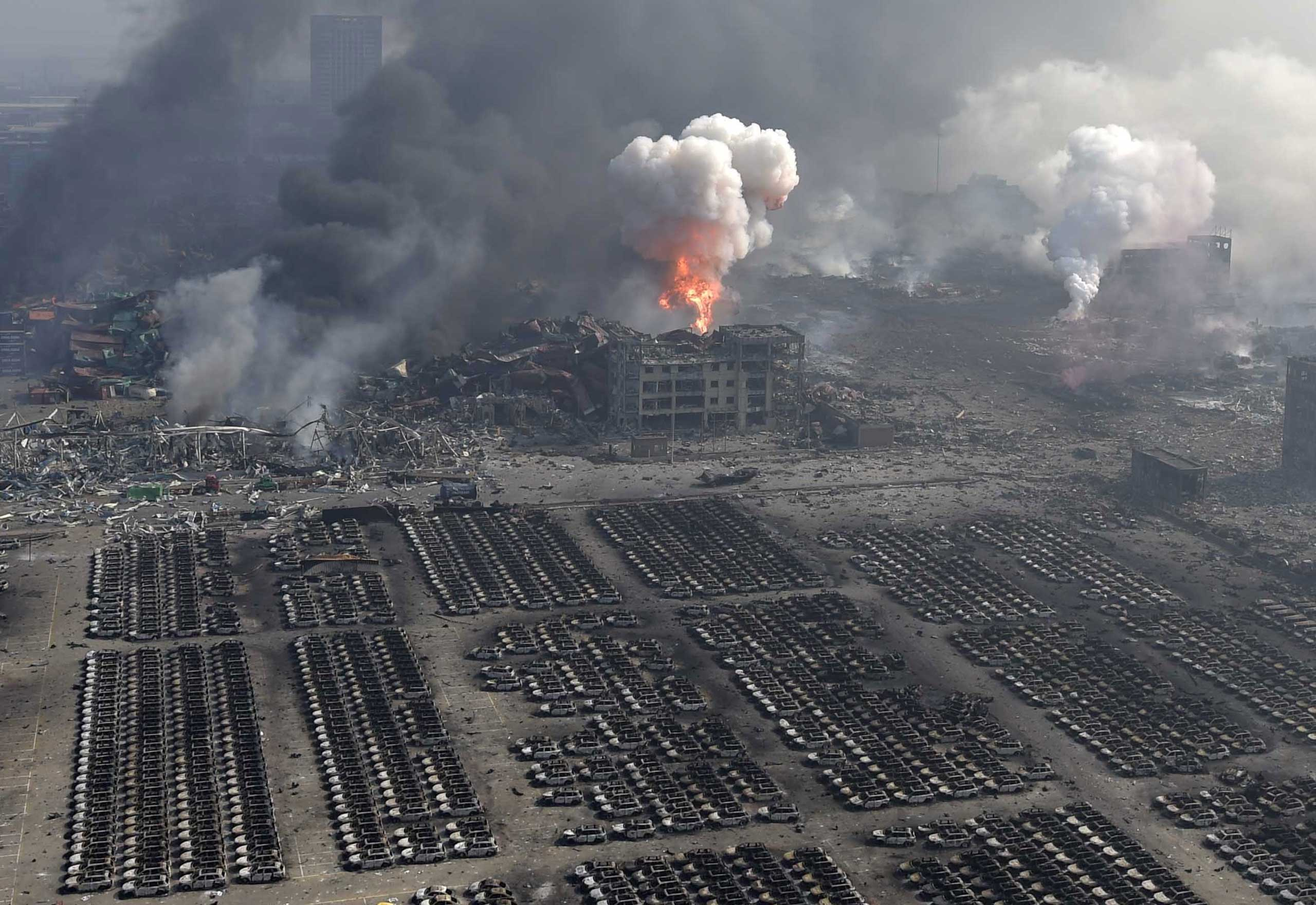 The site of huge explosions in Binhai New Area in Tianjin, north China, on Aug. 13, 2015.