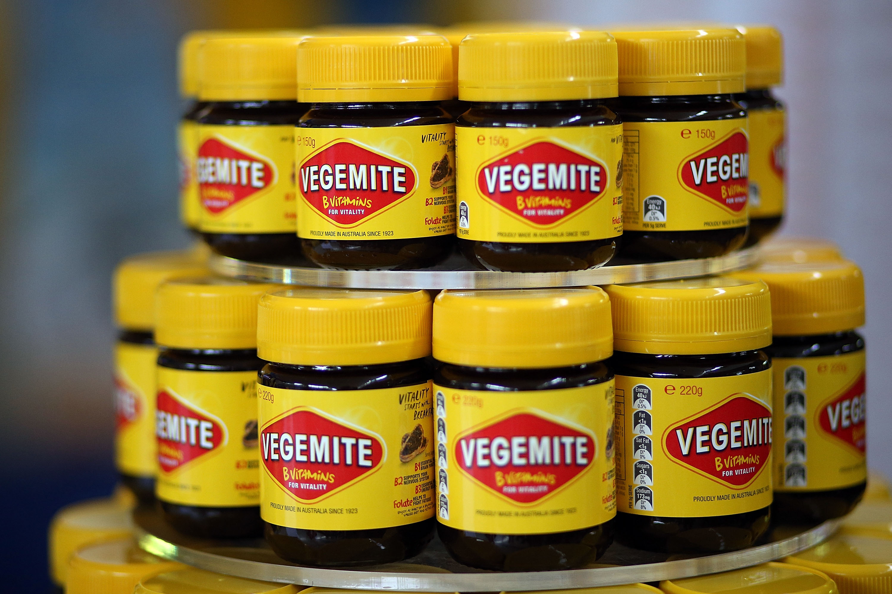 Jars of Vegemite are seen during a press call to celebrate the Vegemite brand's 90th year at the Vegemite factory in Melbourne on Oct. 24, 2013.