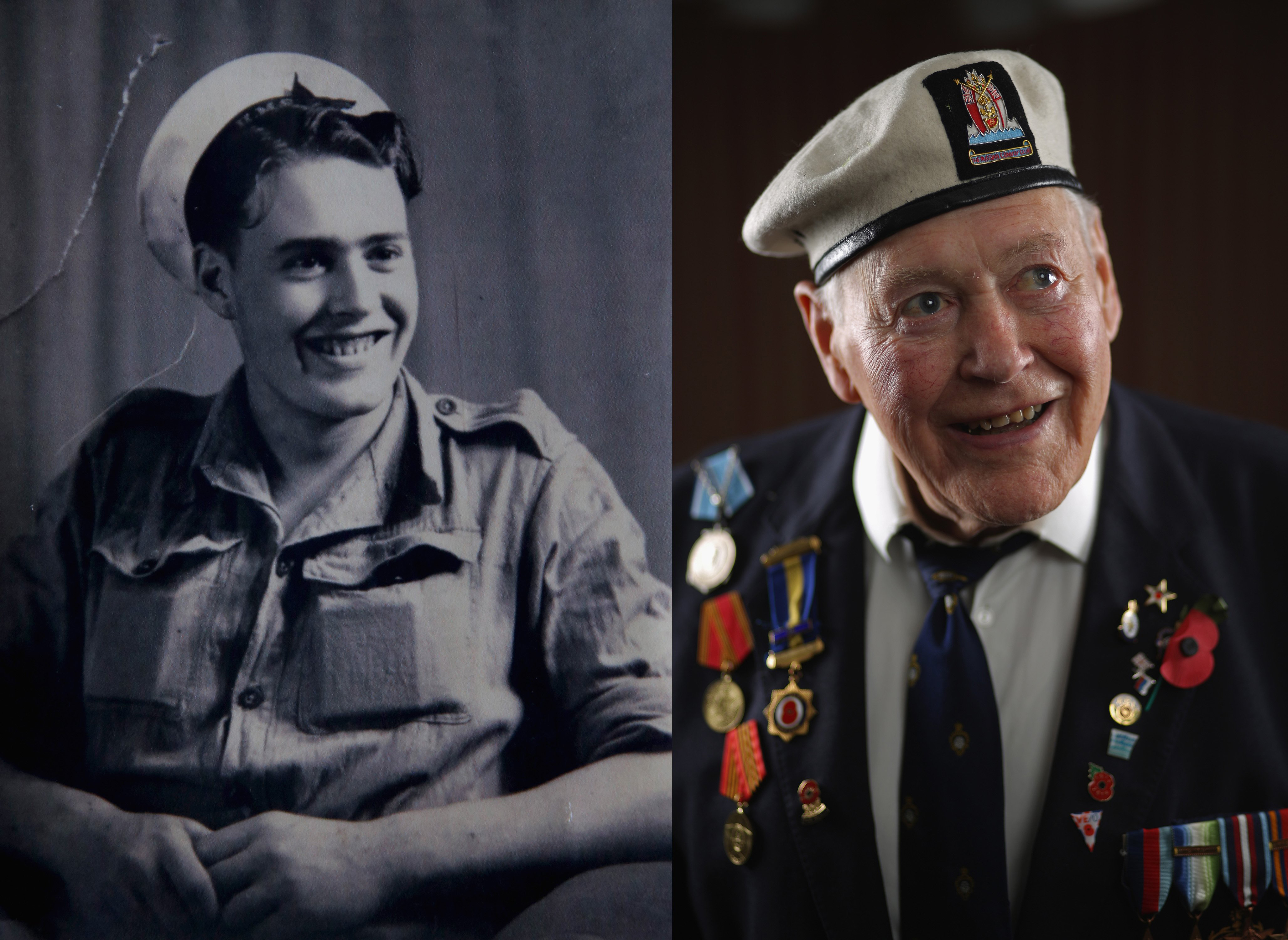 WWII veteran Ken Watson in Japan when he was 20 and at his home, age 89, on Aug. 6, 2015 in Kingston Upon Thames, England.
