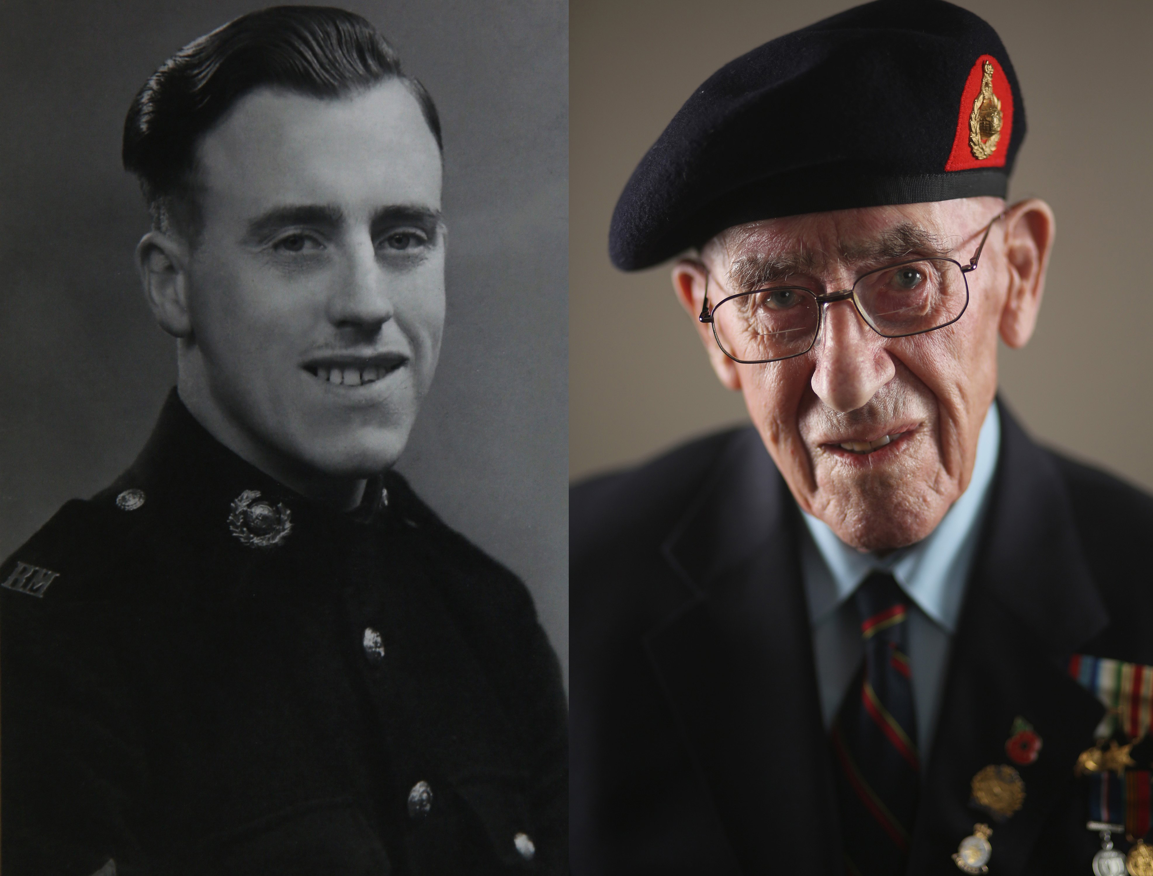 WWII veteran Harold Robinson as a young Royal Marine and at his home, age 95, wearing his campaign medals and Royal Marine beret on Aug. 4, 2015 in Otley, England.