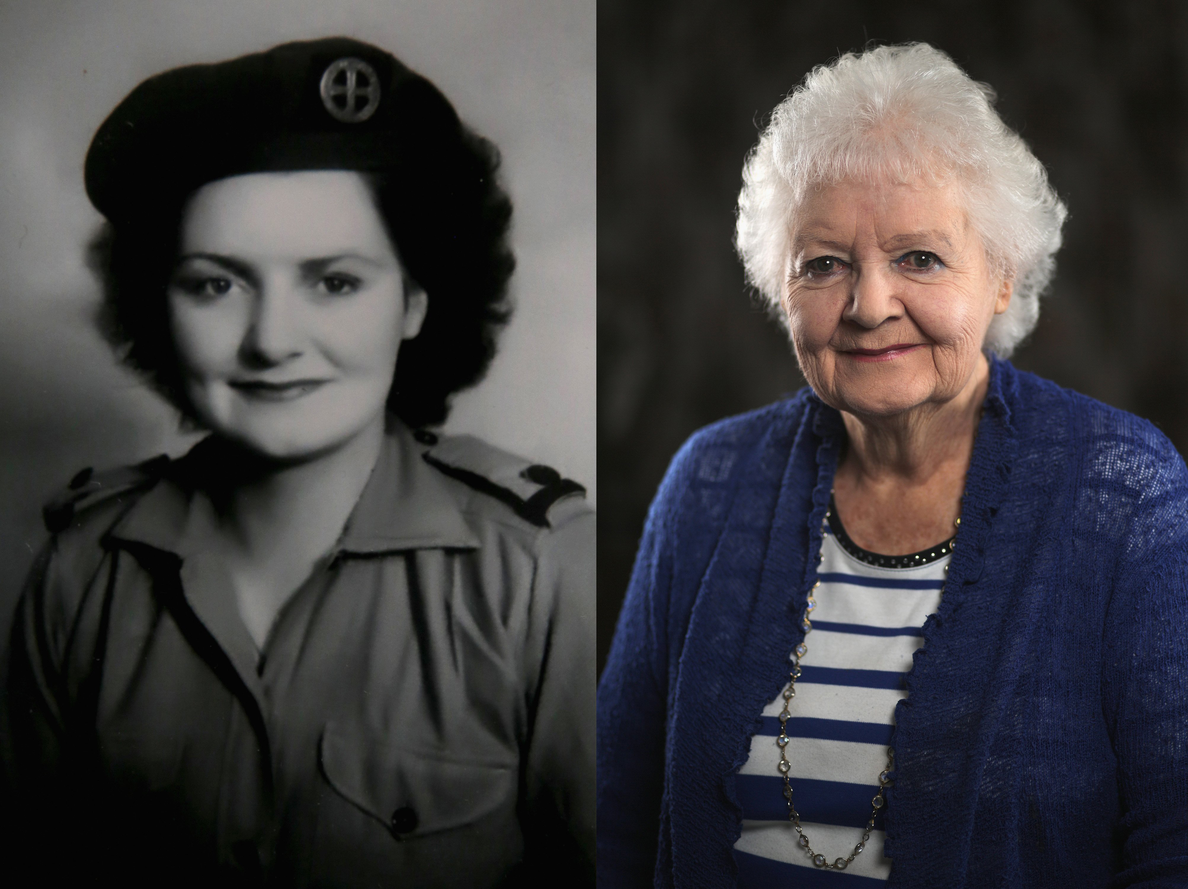 WWII wireless operator Marsali Wood photographed aged 18 when she joined the war effort in 1944 and at her home, age 89, on Aug. 7, 2015 in Codicote, England.