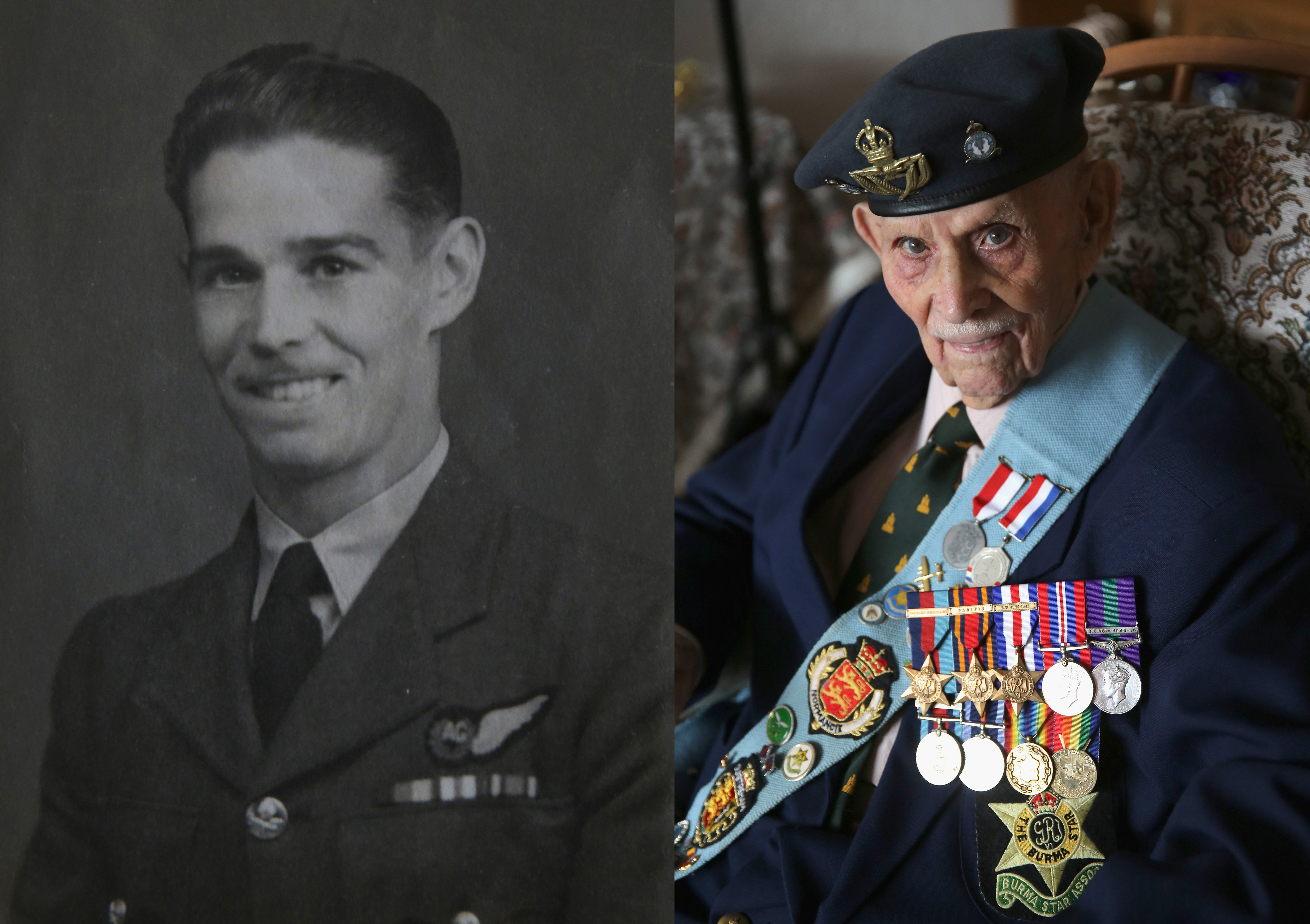 WWII veteran Bill Caster posing as a young RAF airman during WWII and at his home, age 93, wearing his campaign medals on Aug. 4, 2015 in Redcar, England.