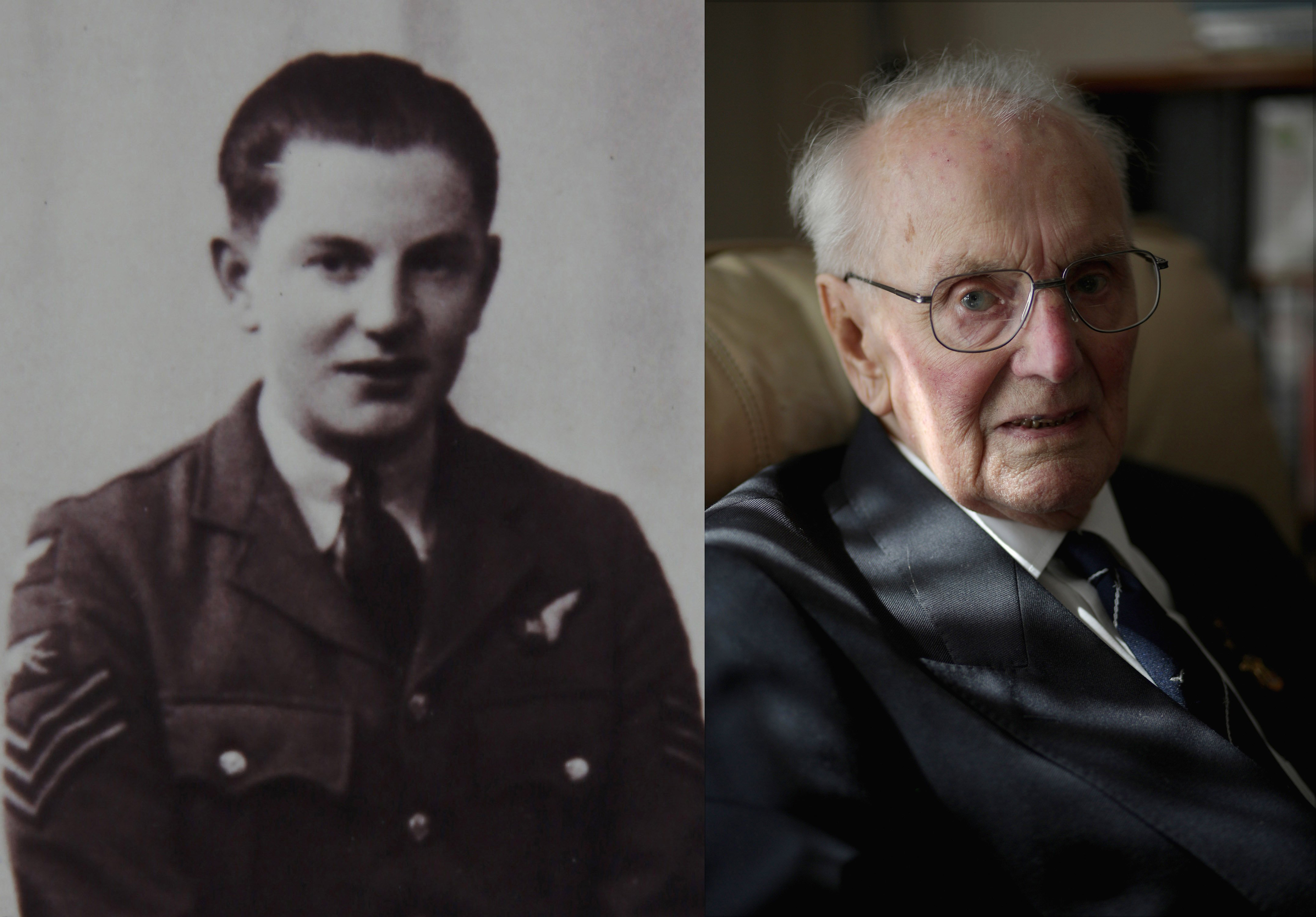 WWII bomber crewman Peter Andrews, aged 21, posing in 1944 and at his home in Kent age 90, on Aug. 7, 2015, in Tonbridge, England.