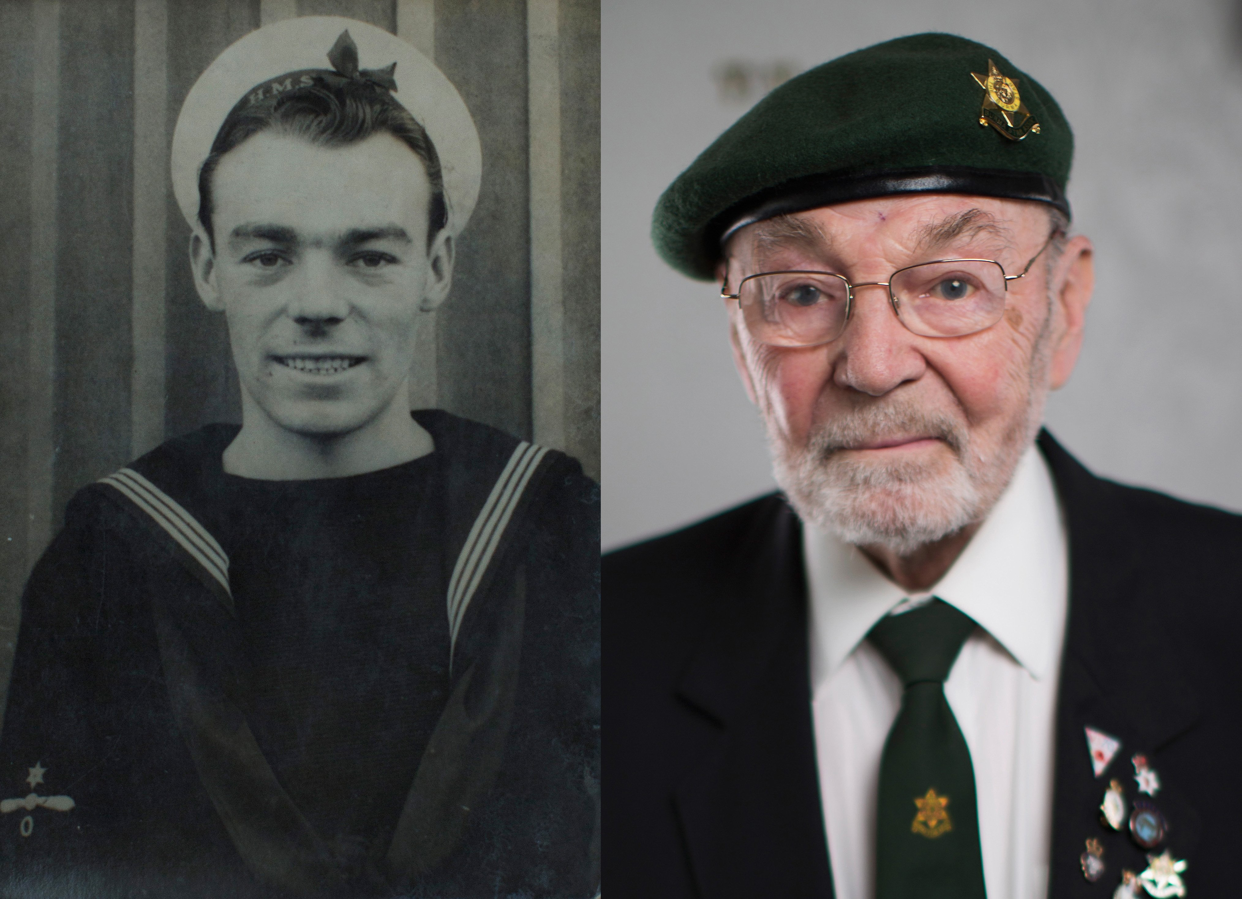 WWII veteran Jack Gordon as a young sailor during WWII and at his home, age 92, wearing his campaign medals and Burma Star beret on Aug. 3, 2015 in Ashton-in-Makerfield, England.
